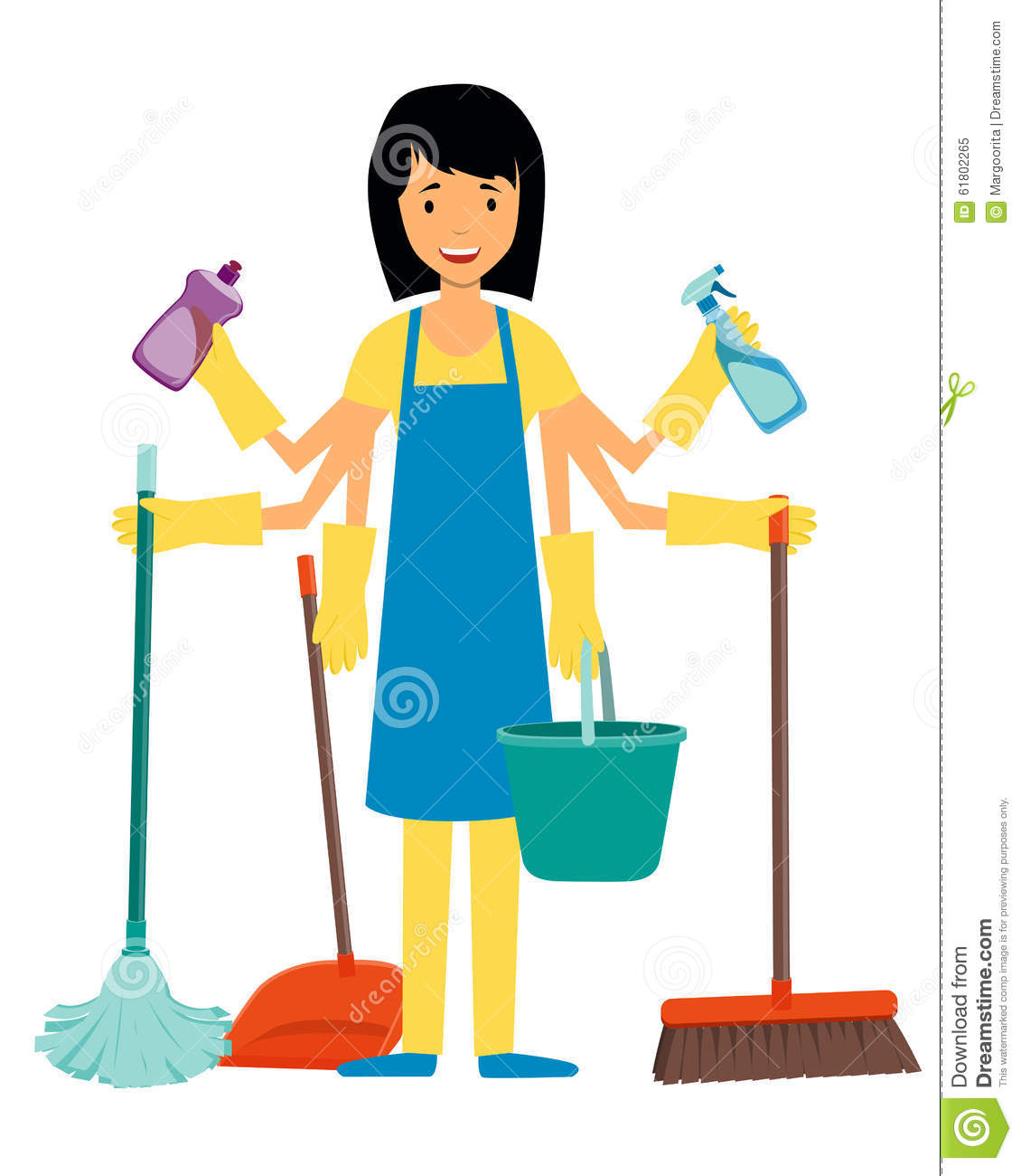 Housewife And Cleaning Tools Stock Vector Image 61802265