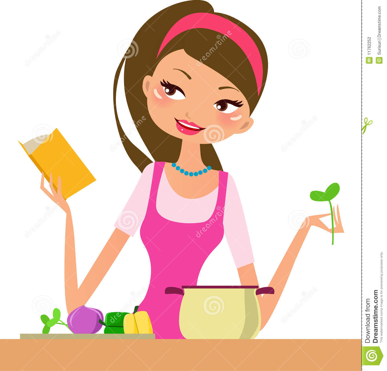 Housewife-cooking stock vector. Illustration of dishware ...