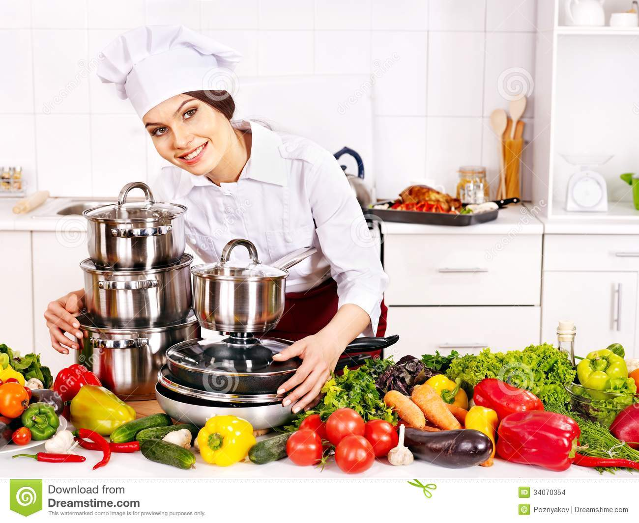 Housewife Cooking At Kitchen Stock Photo Image 34070354