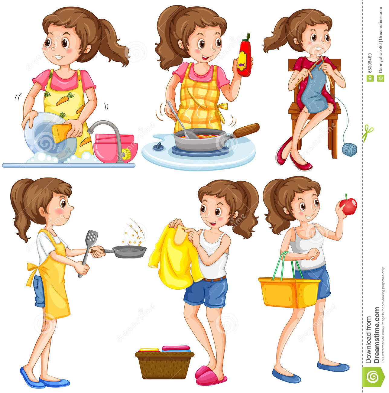 Remarkable Housewife Doing Different Chores Stock Vector Illustration Interior Design Ideas Clesiryabchikinfo