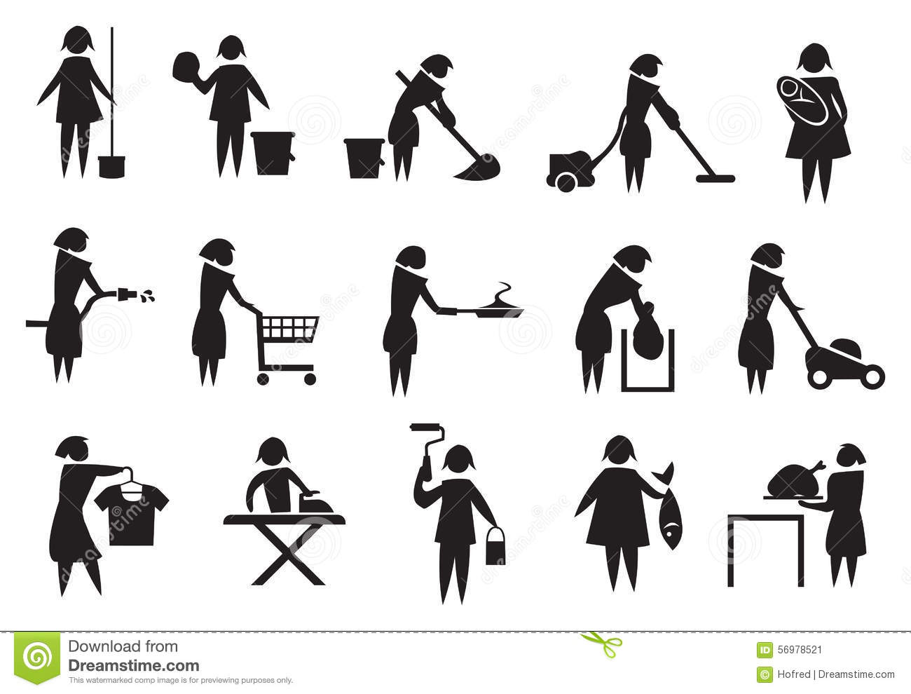 Housewife And Household Chores Icon Set Stock Vector