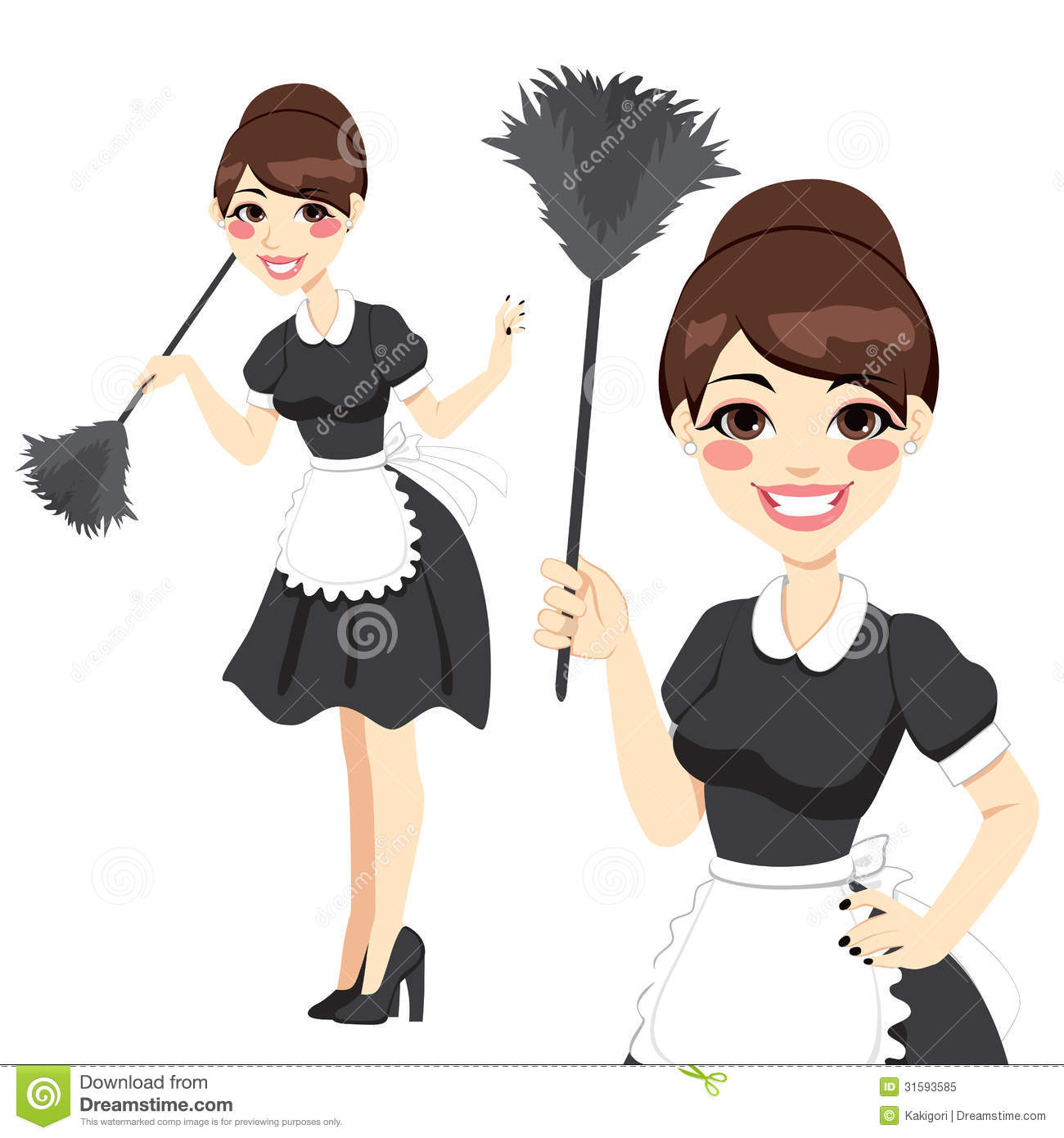 maid in classic maid dress cleaning duster cleaning service housewife maid duster royalty stock photo