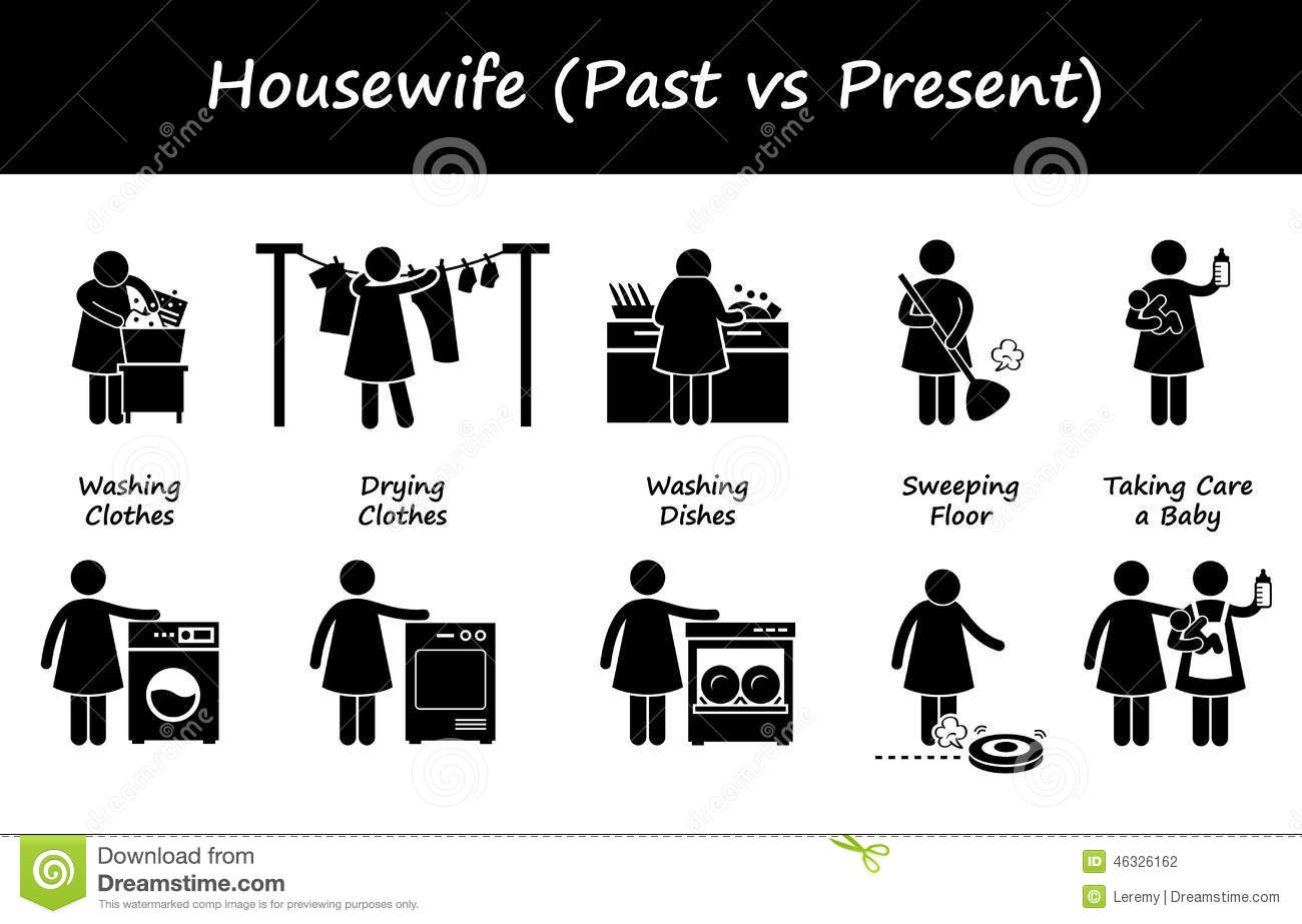 Housewife Past Versus Present Lifestyle Cliparts Icons