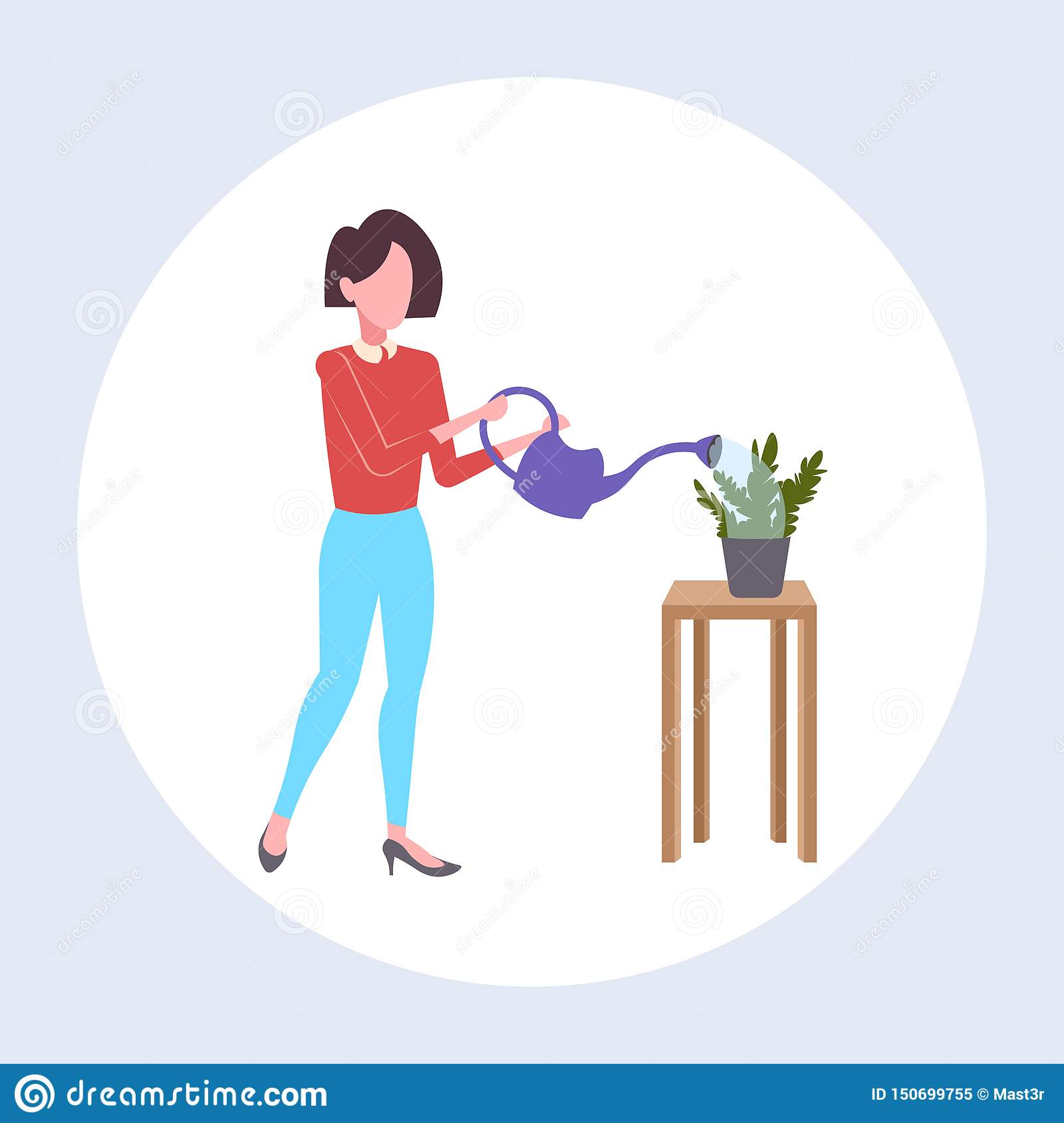 Housewife pouring water in domestic potted plant woman holding watering can doing housework concept female cartoon