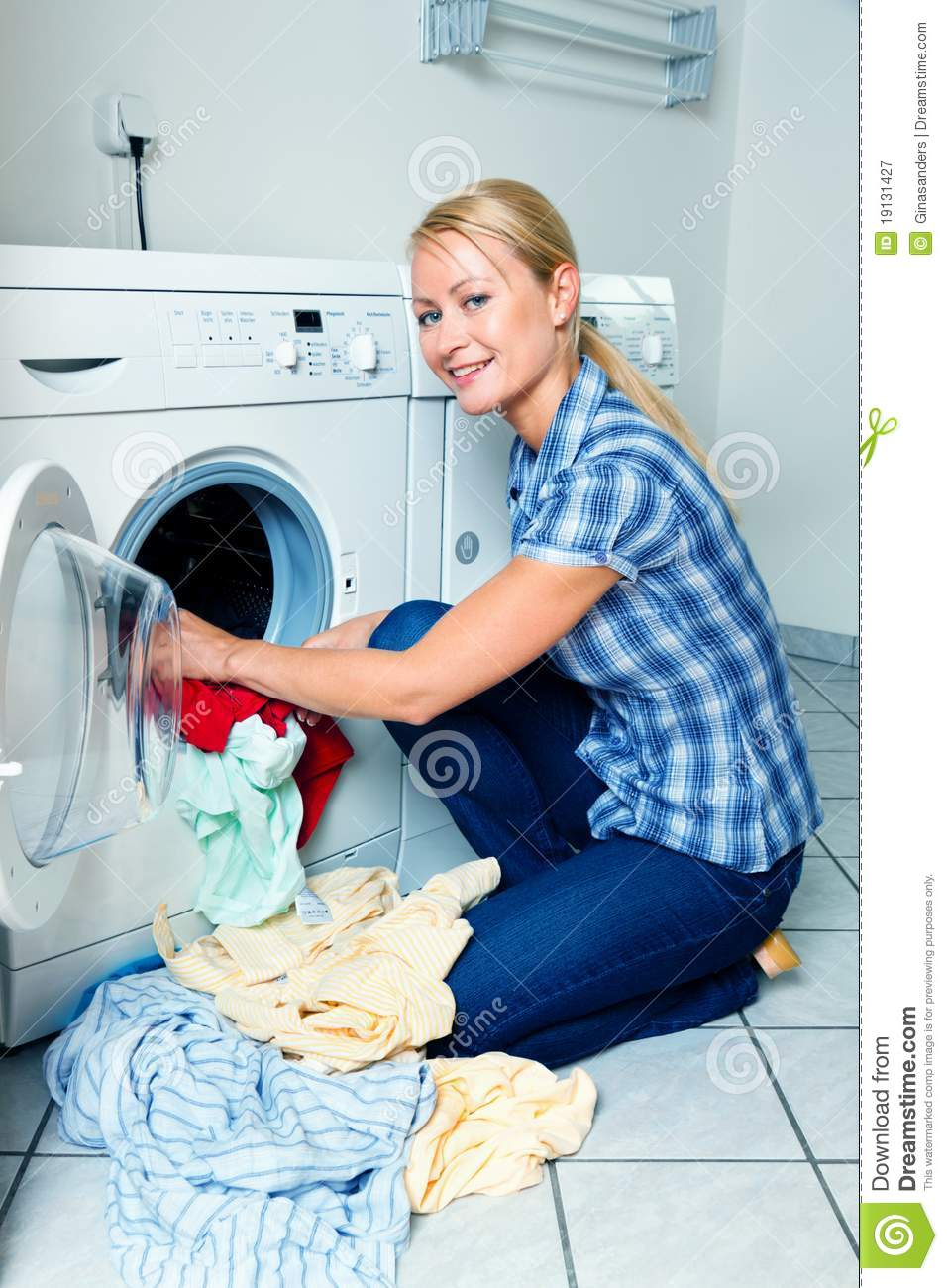 housewife washing stock image image of powder machine
