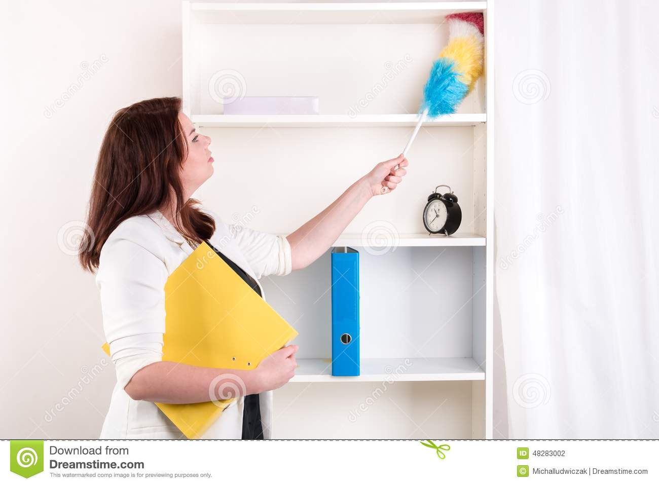 Housewife Wiping Dust Off The Shelves Stock Photo Image