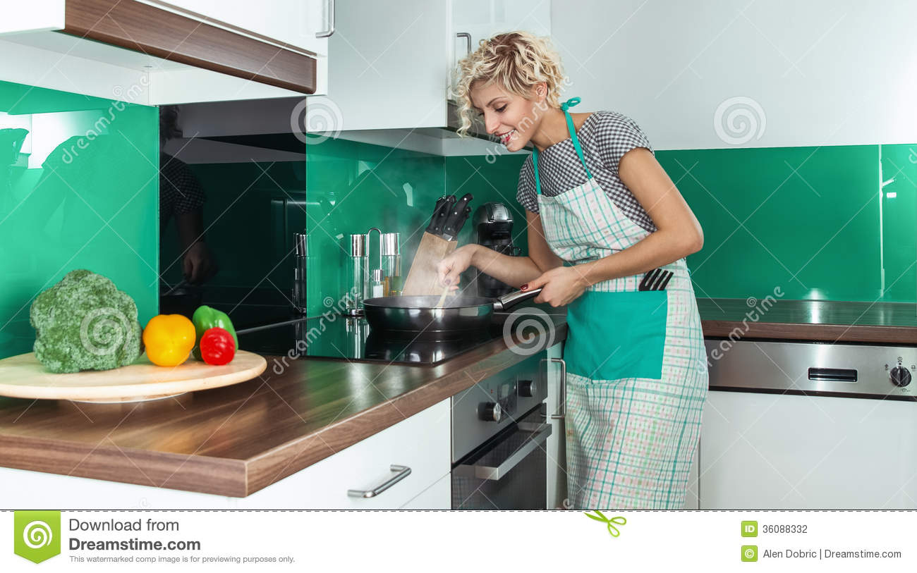 Housewife stock photo image of cooker appearance meal for Modern housewife