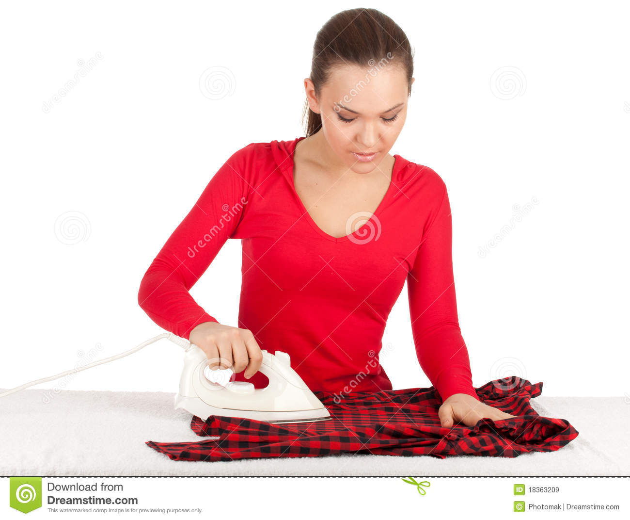Housework - Young Woman Ironing Clothes Royalty Free Stock ...