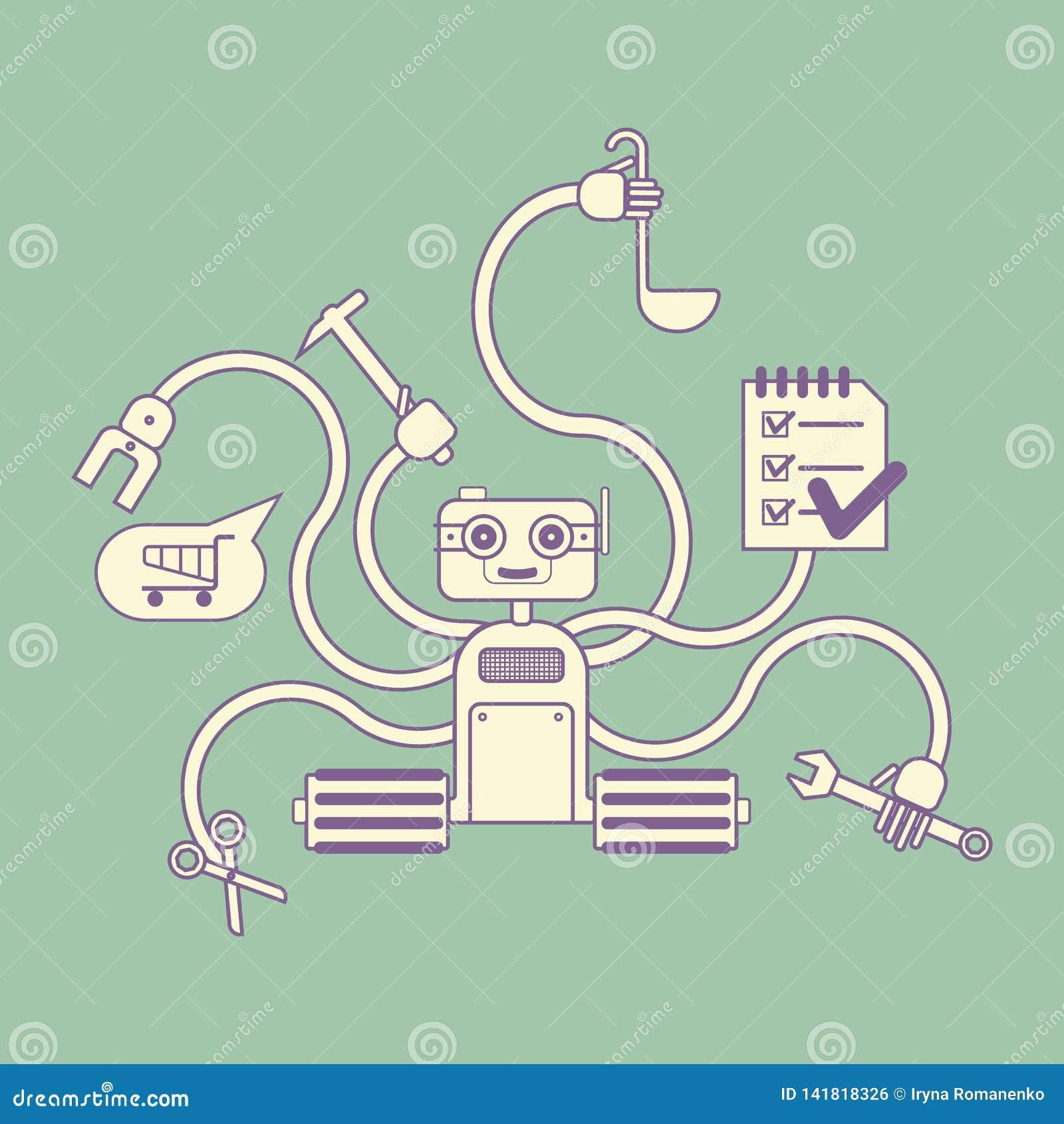 Houseworkerrobot met verscheidene handen