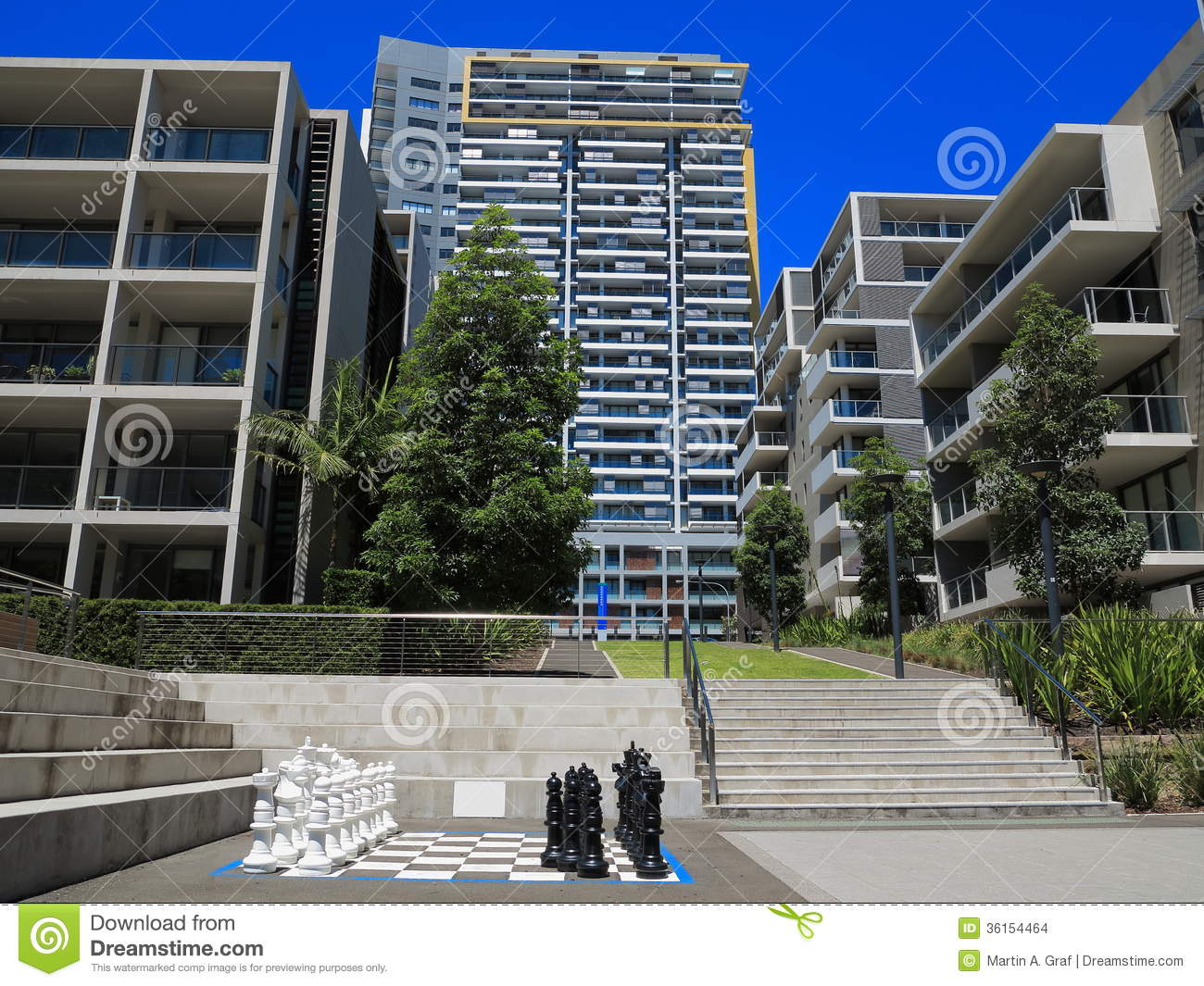 Stock Images Housing Complex Modern Courtyard Australian Urban Living Chess Game Image36154464 on Modern House Plans With Courtyard
