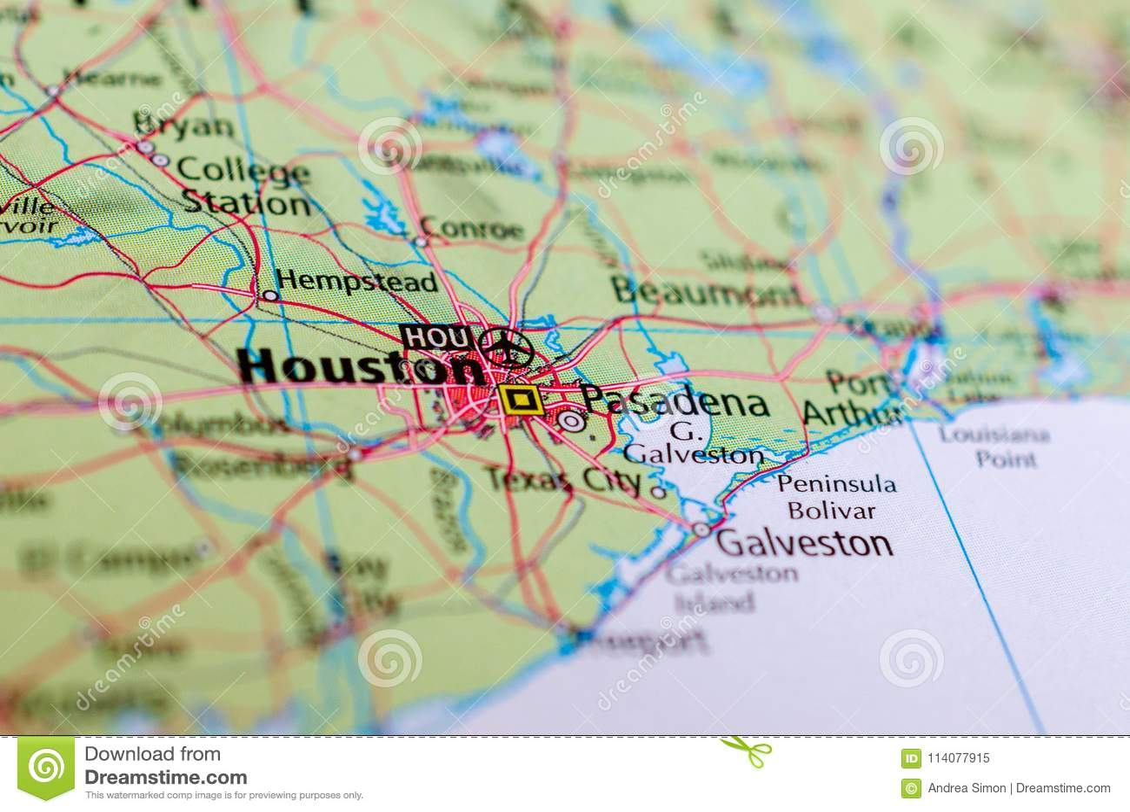 Houston auf Karte