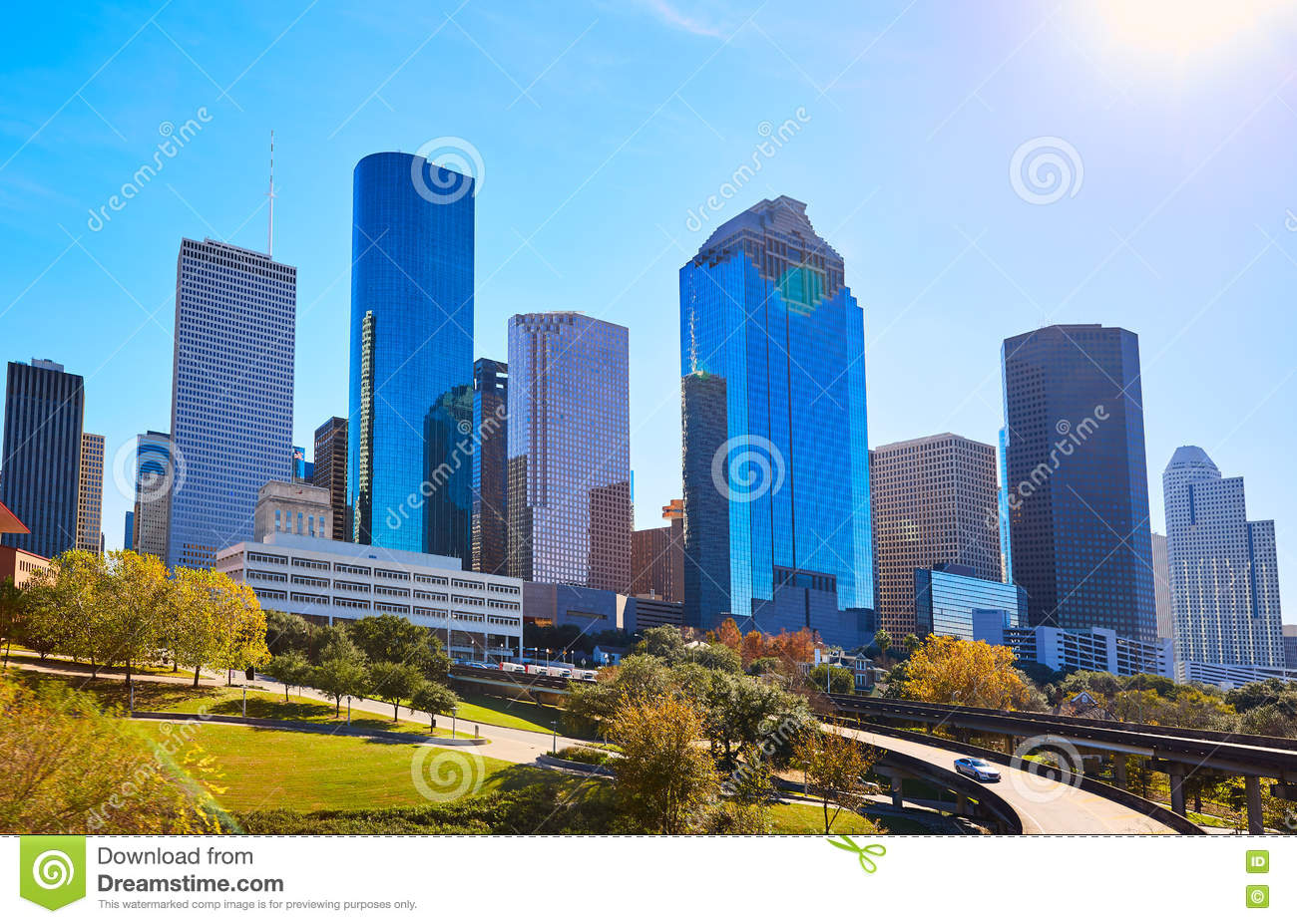 Houston city skyline from west Texas US