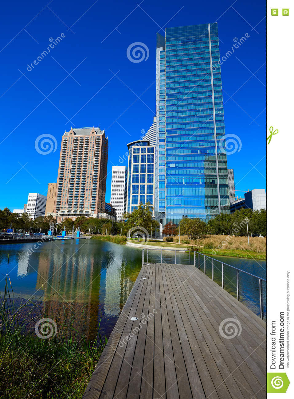Houston Discovery Green Park In Downtown Stock Photo ...