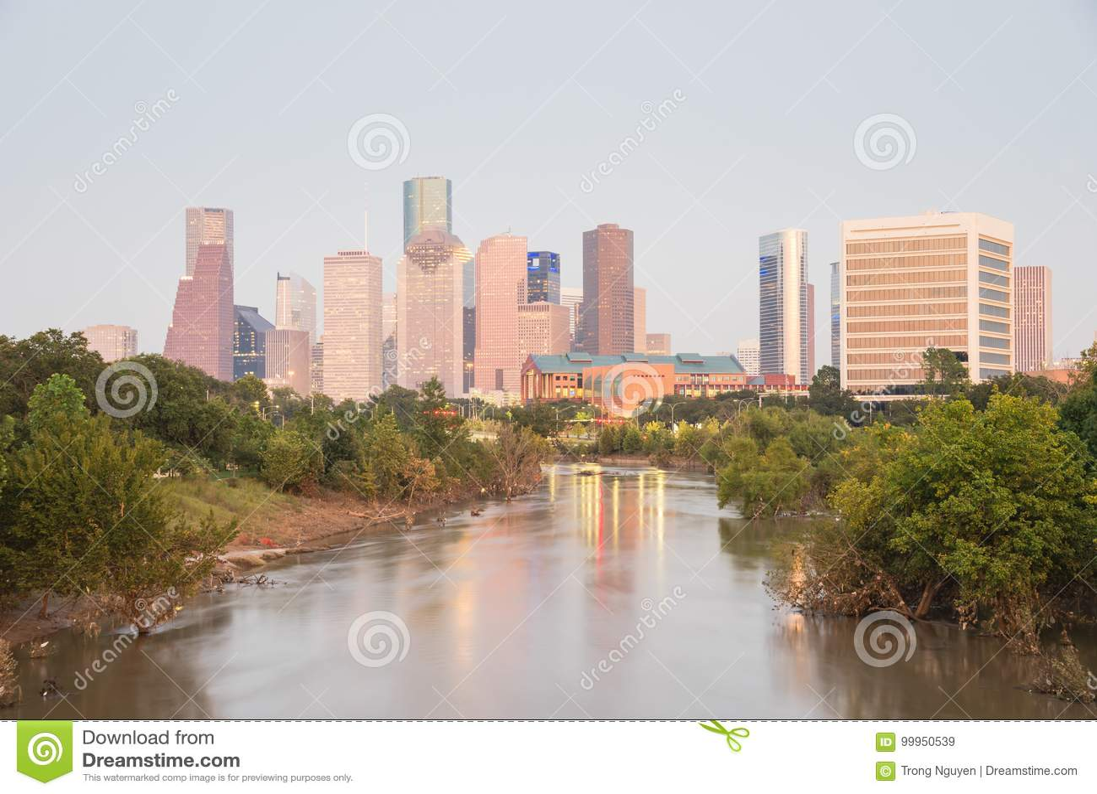 Houston Downtown Bayou River Sunset