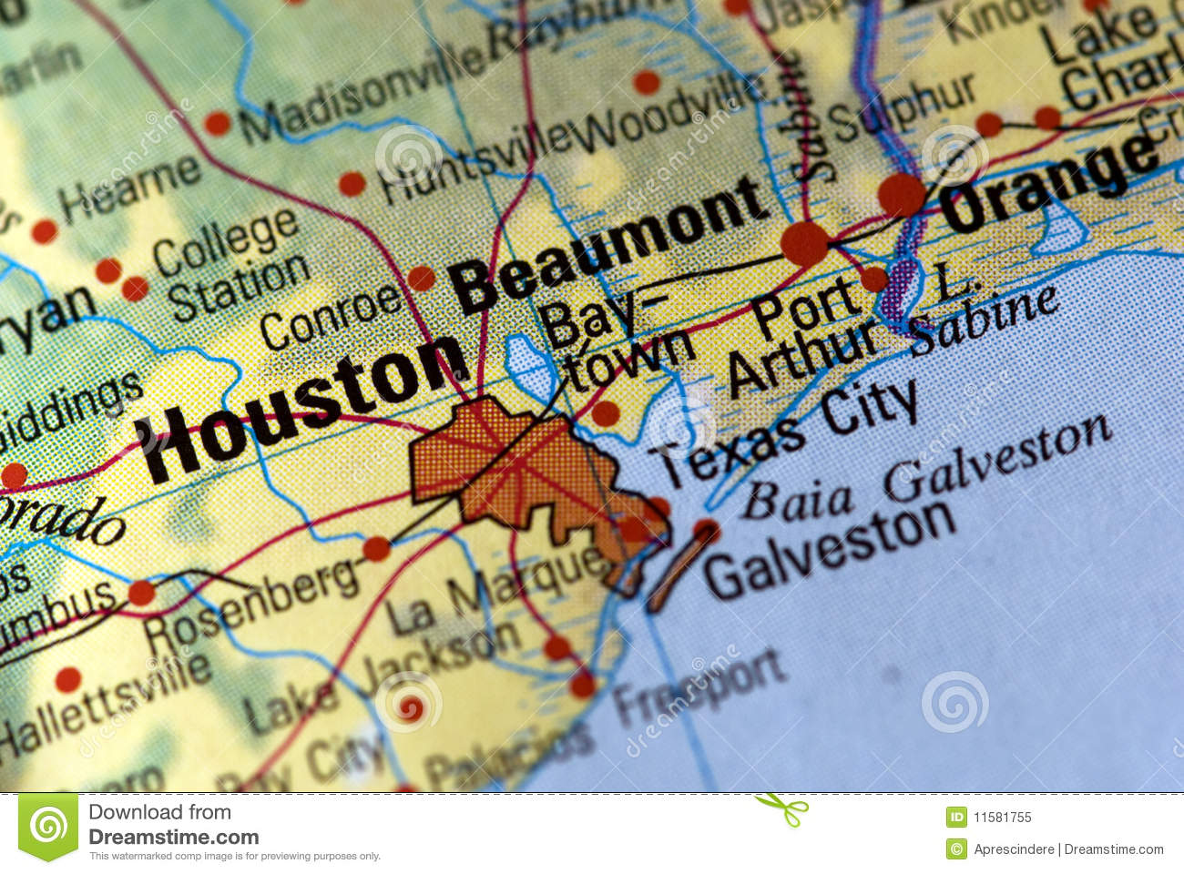 Houston On The Map Stock Image Image Of Detail Country 11581755