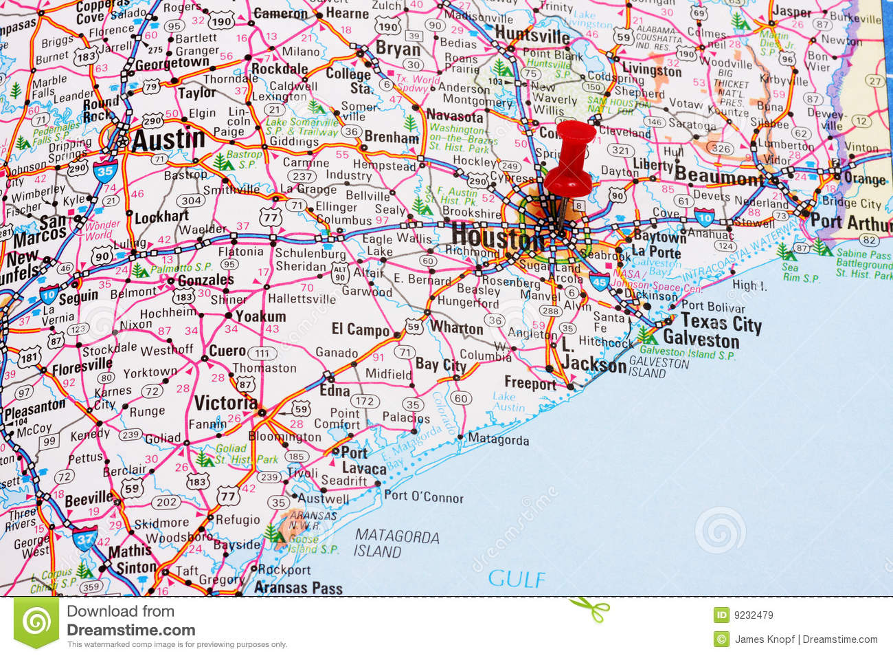 Houston Map stock image Image of direction marked directions