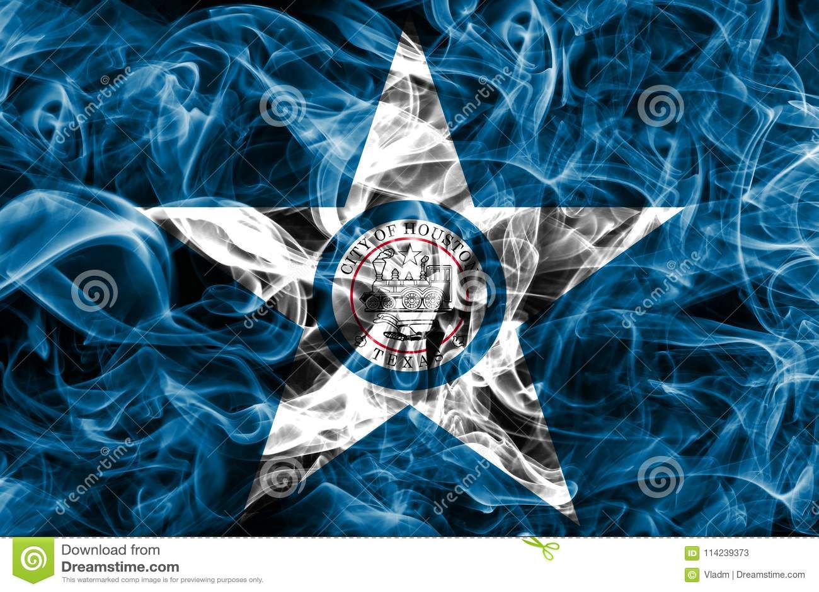 Houston miasta dymu flaga, Teksas stan, Stany Zjednoczone Ameryka