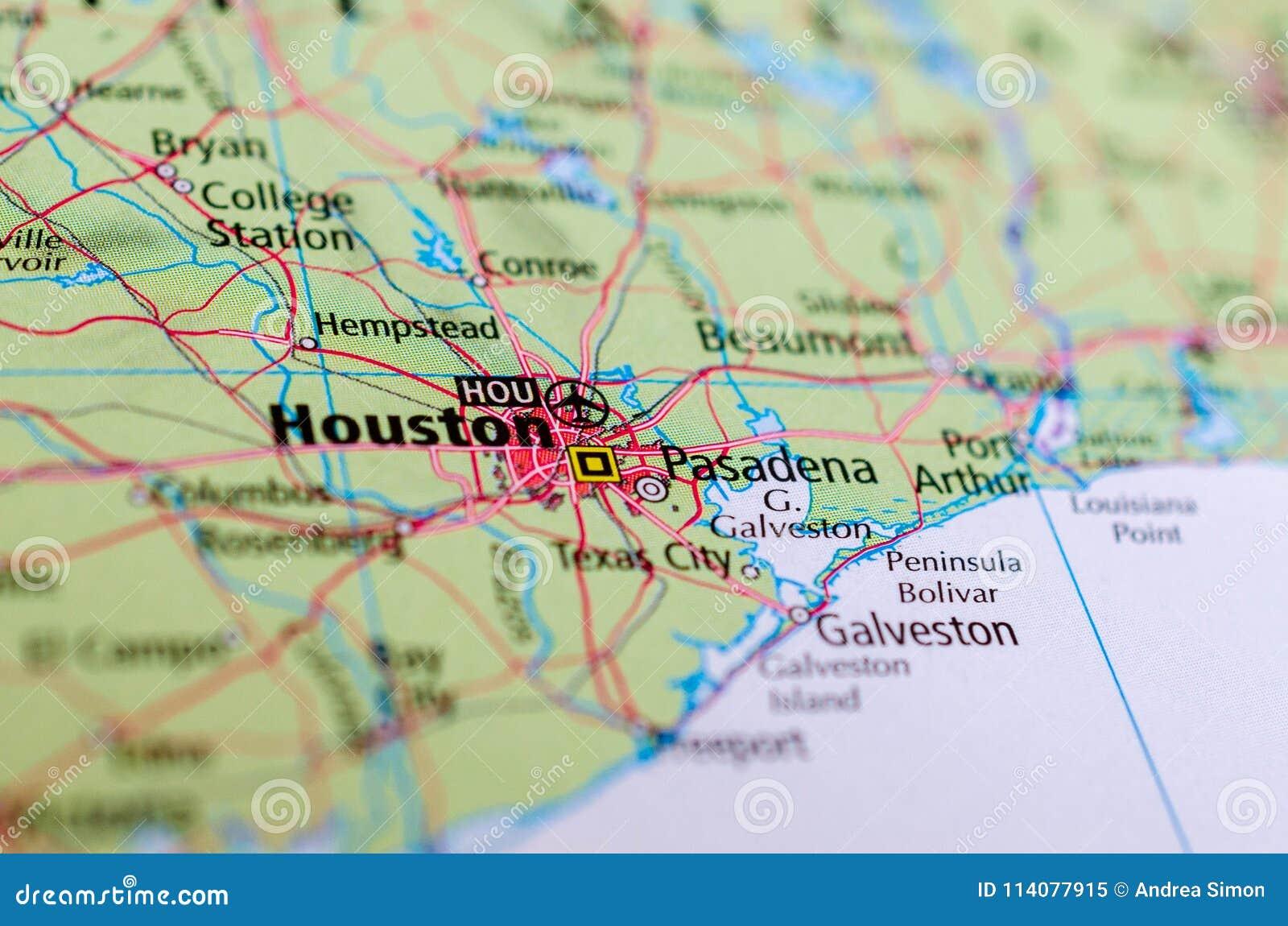 Houston no mapa