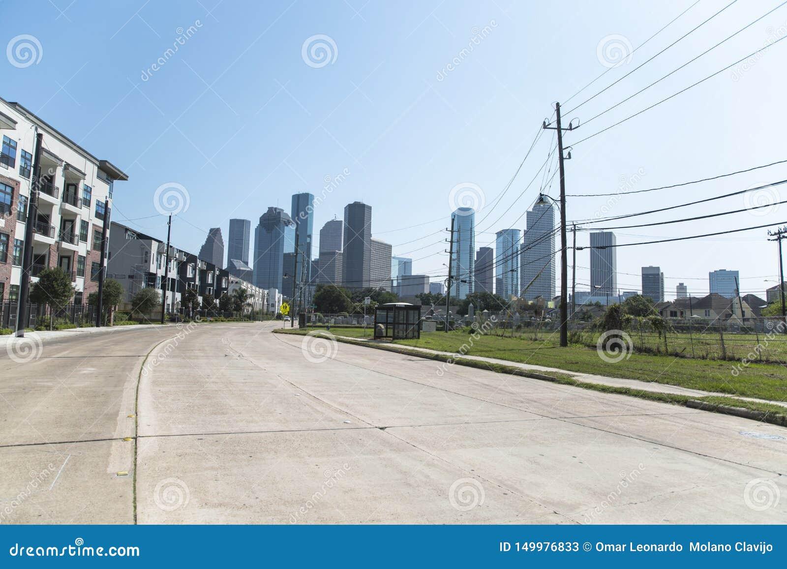 Houston od środek miasta przy nocą