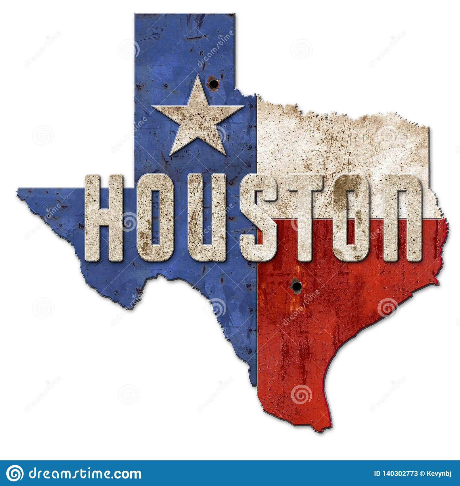 Houston Sign Grunge Texas Flag Lone Star metall