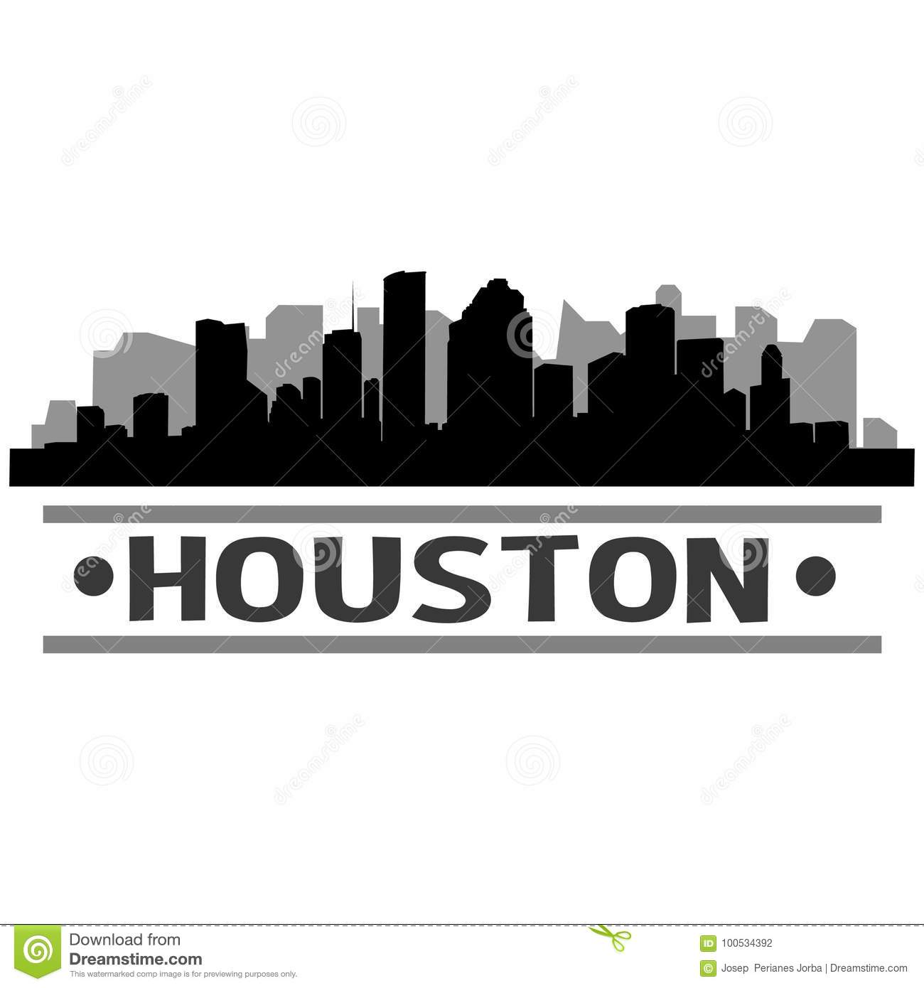 Houston Skyline City Icon Vector Art Design