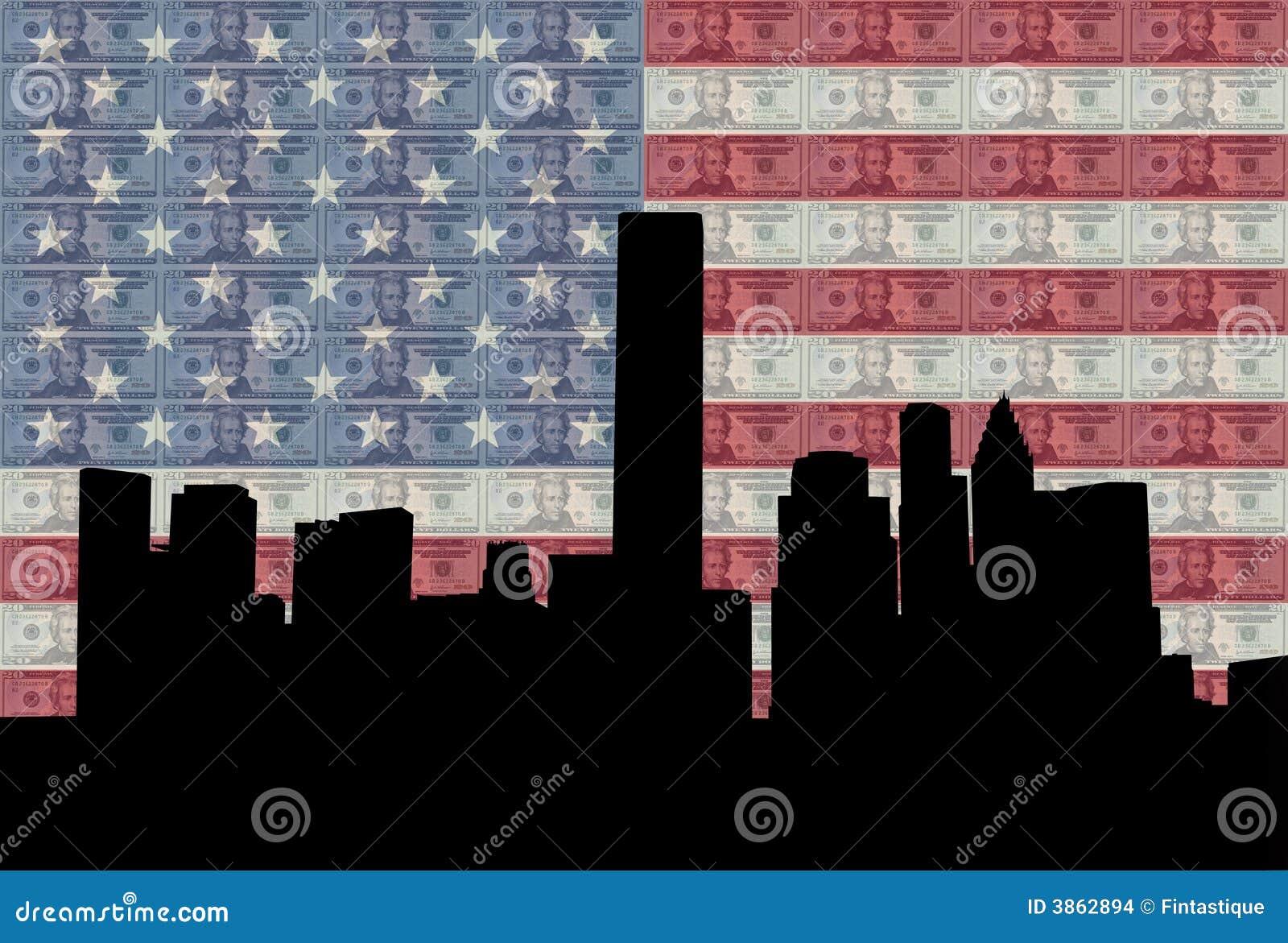 Houston-Skyline mit Markierungsfahne