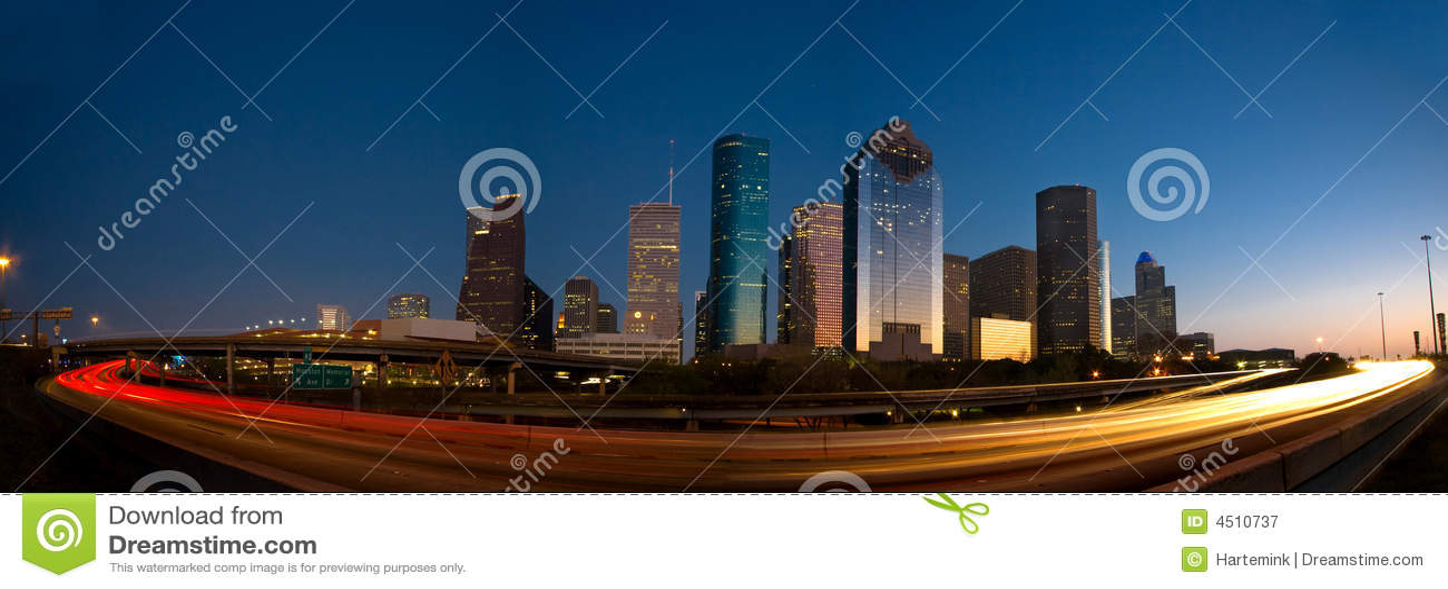 Houston skyline and traffic at sunset