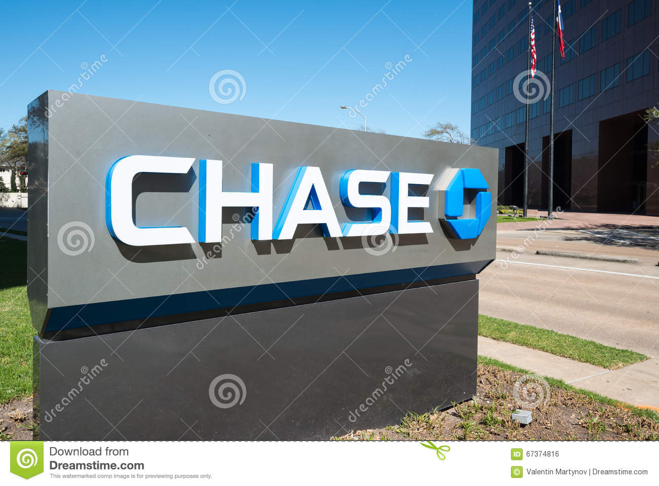 JPMorgan Chase Bank Stand With Flags, Houston, Texas Editorial Photo