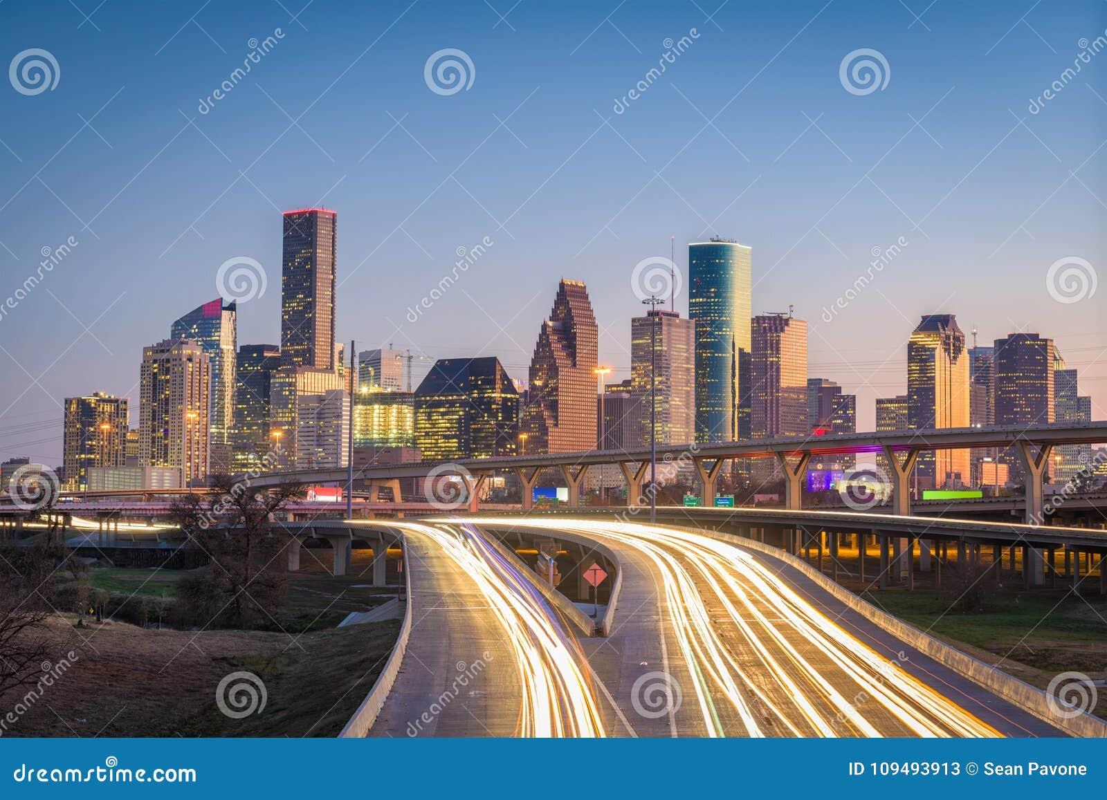 Houston, Texas, horizon des Etats-Unis et route