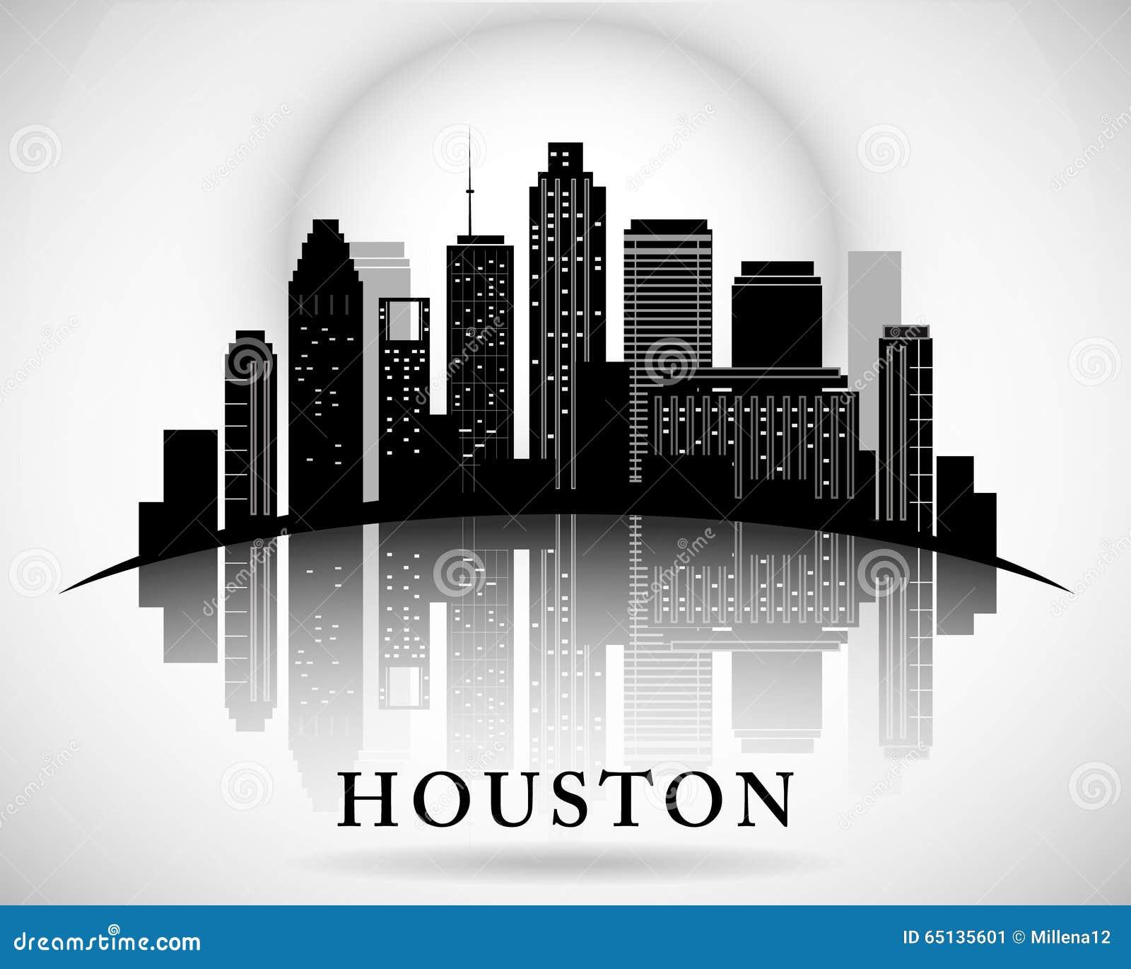 Houston Texas Skyline City Silhouette Stock Vector - Image