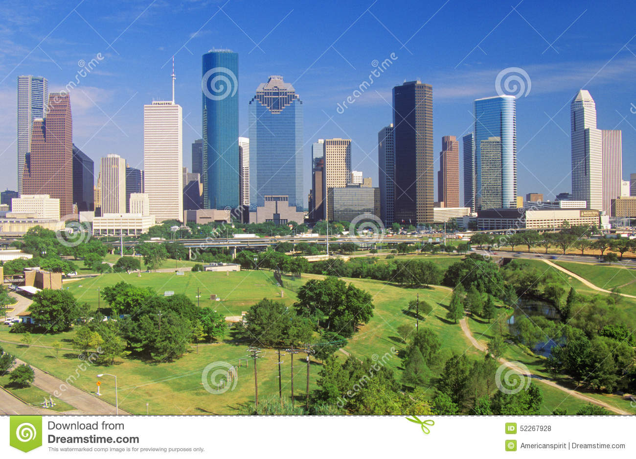 houston tx skyline in the afternoon with memorial park in foreground editorial stock photo. Black Bedroom Furniture Sets. Home Design Ideas