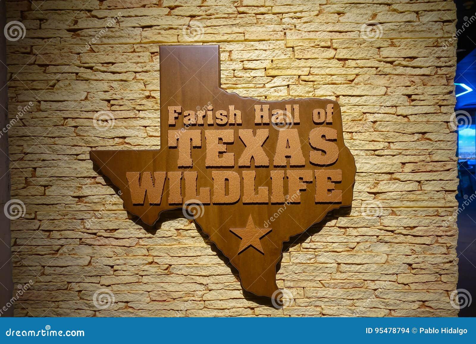 HOUSTON, usa - STYCZEŃ 12, 2017: Pouczający znak z mapą Texas w drewnie nad ścienną ekspozycją wśrodku