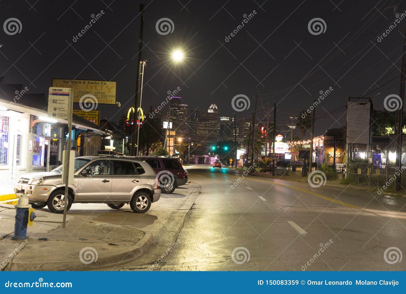 Houston van montroseneightborhood bij nacht