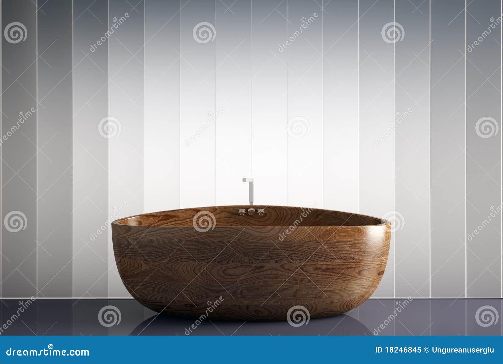 Houten badkuip royalty vrije stock foto beeld 18246845 - Eigentijdse badkuip ...