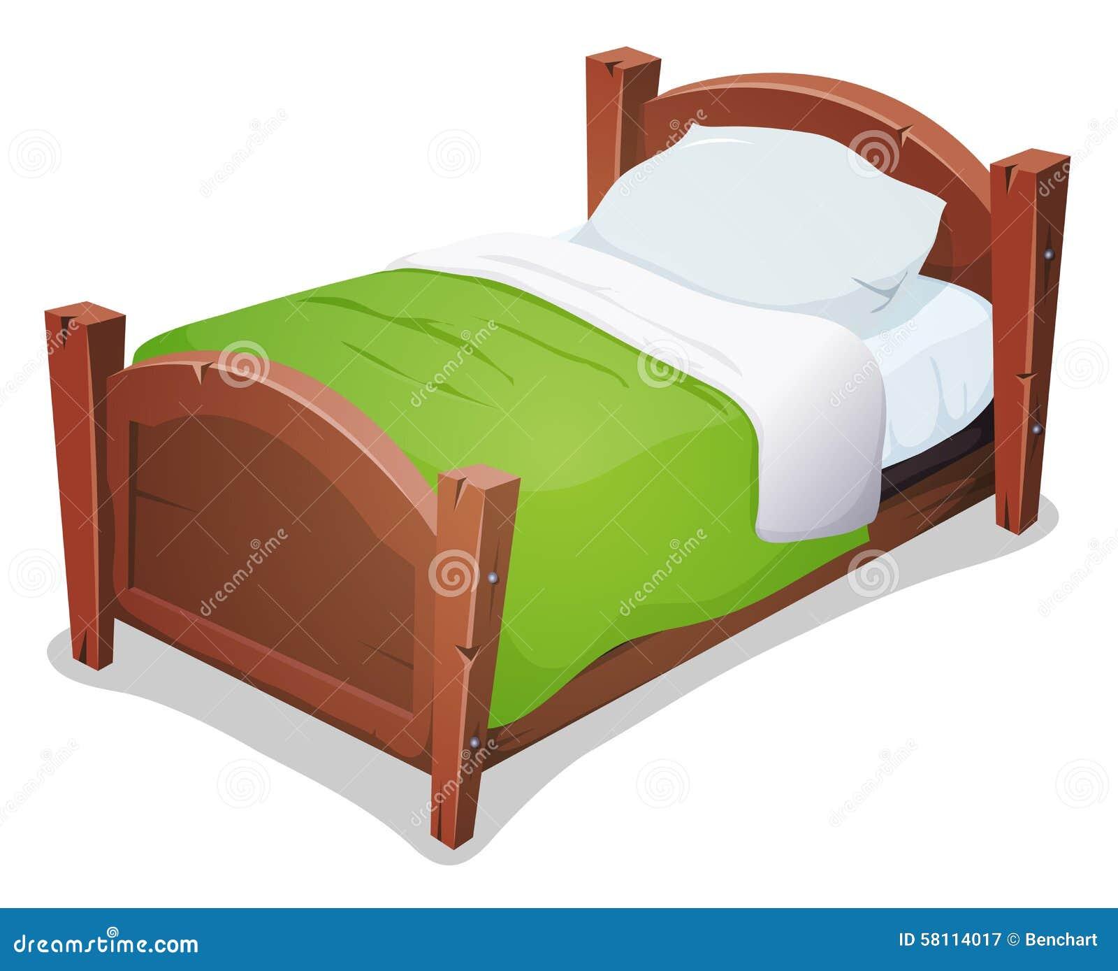 Houten bed met groene deken stock illustratie afbeelding 58114017 - Houten bed ...