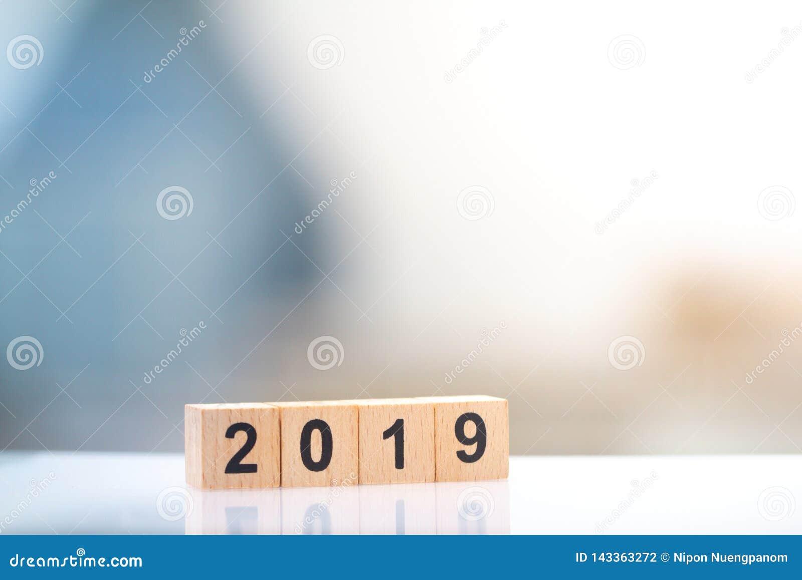 Houten blokaantal jaar 2019 voor zaken en grafisch ontwerp