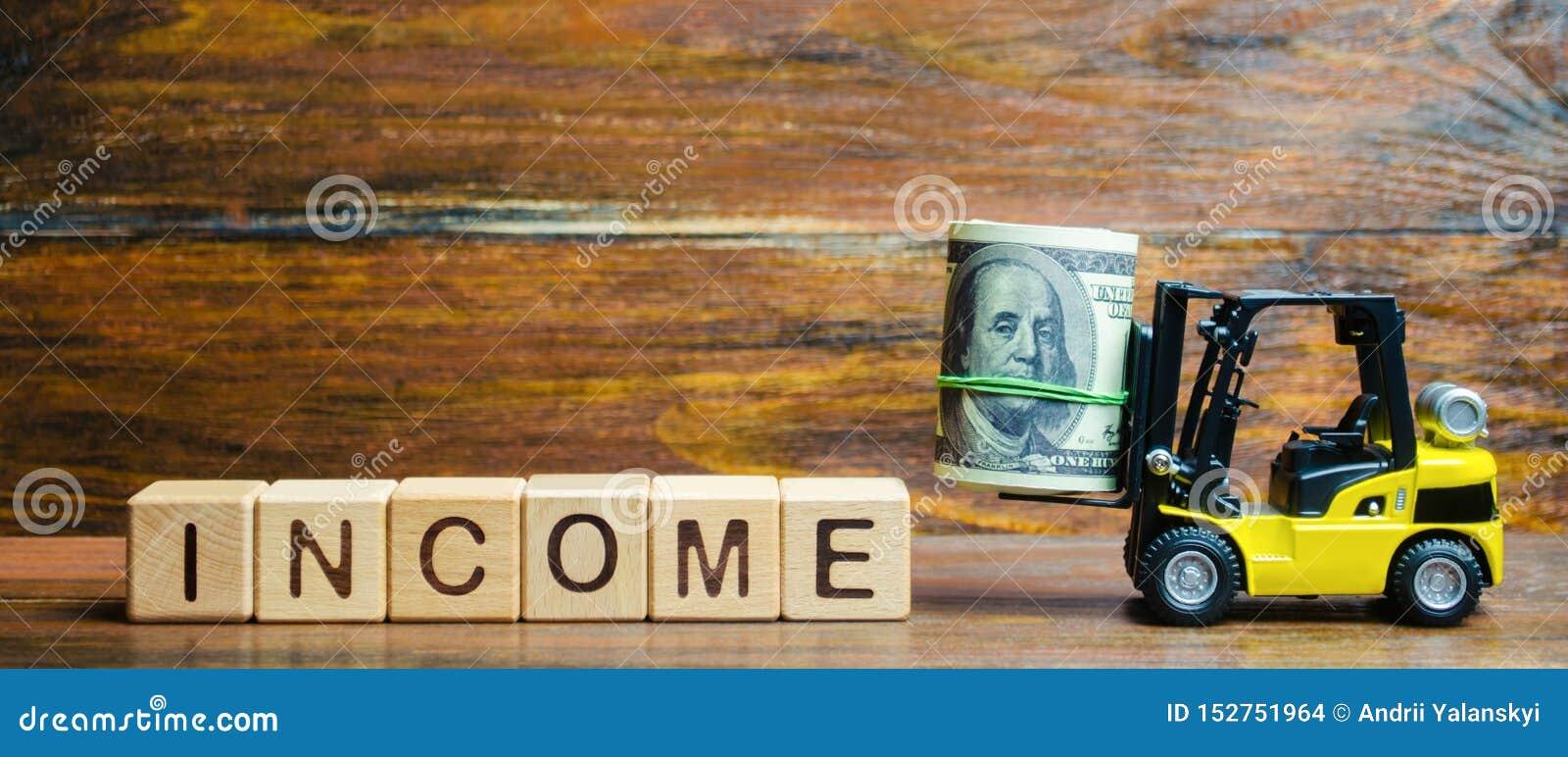 Houten blokken met het woordinkomen, geld en een vorkheftruck r Rendement van investering Succesvolle voordelige zaken
