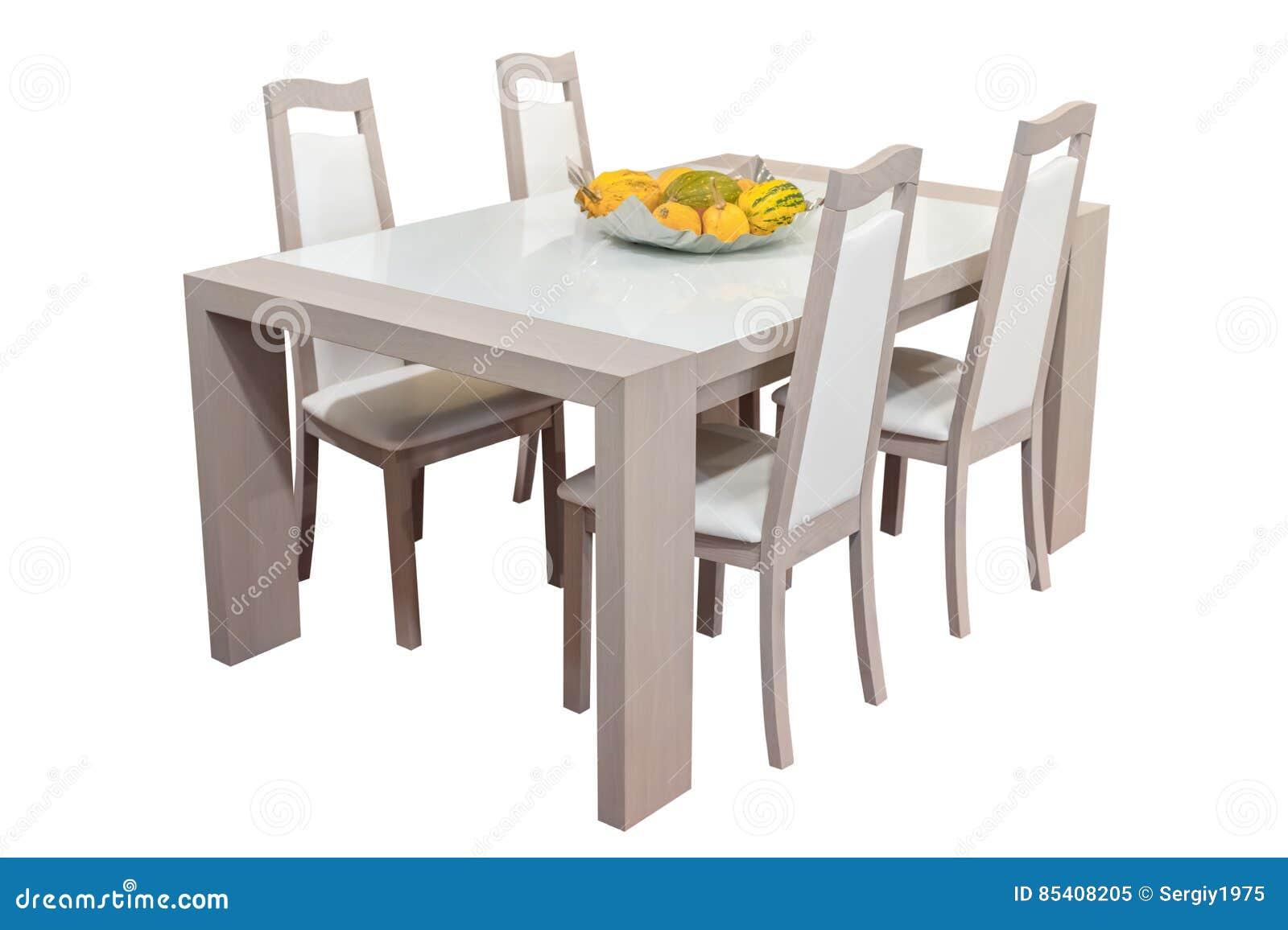 Houten Die Eettafel En Stoelen Op Witte Achtergrond Wordt