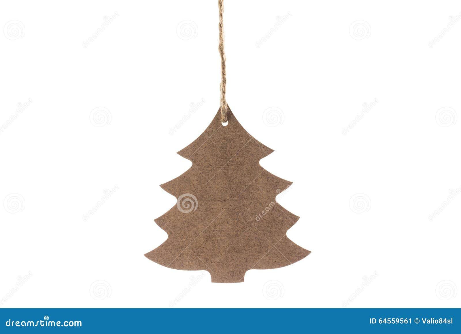Houten Die Kerstboom Met Ster Voor Decoratie Op Wit Wordt Geisoleerd