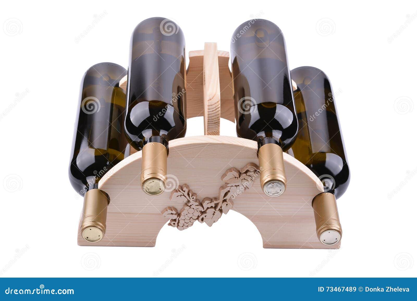 Houten Wijnrek Wit.Houten Die Wijnrek Op Wit Wordt Geisoleerd Stock Afbeelding
