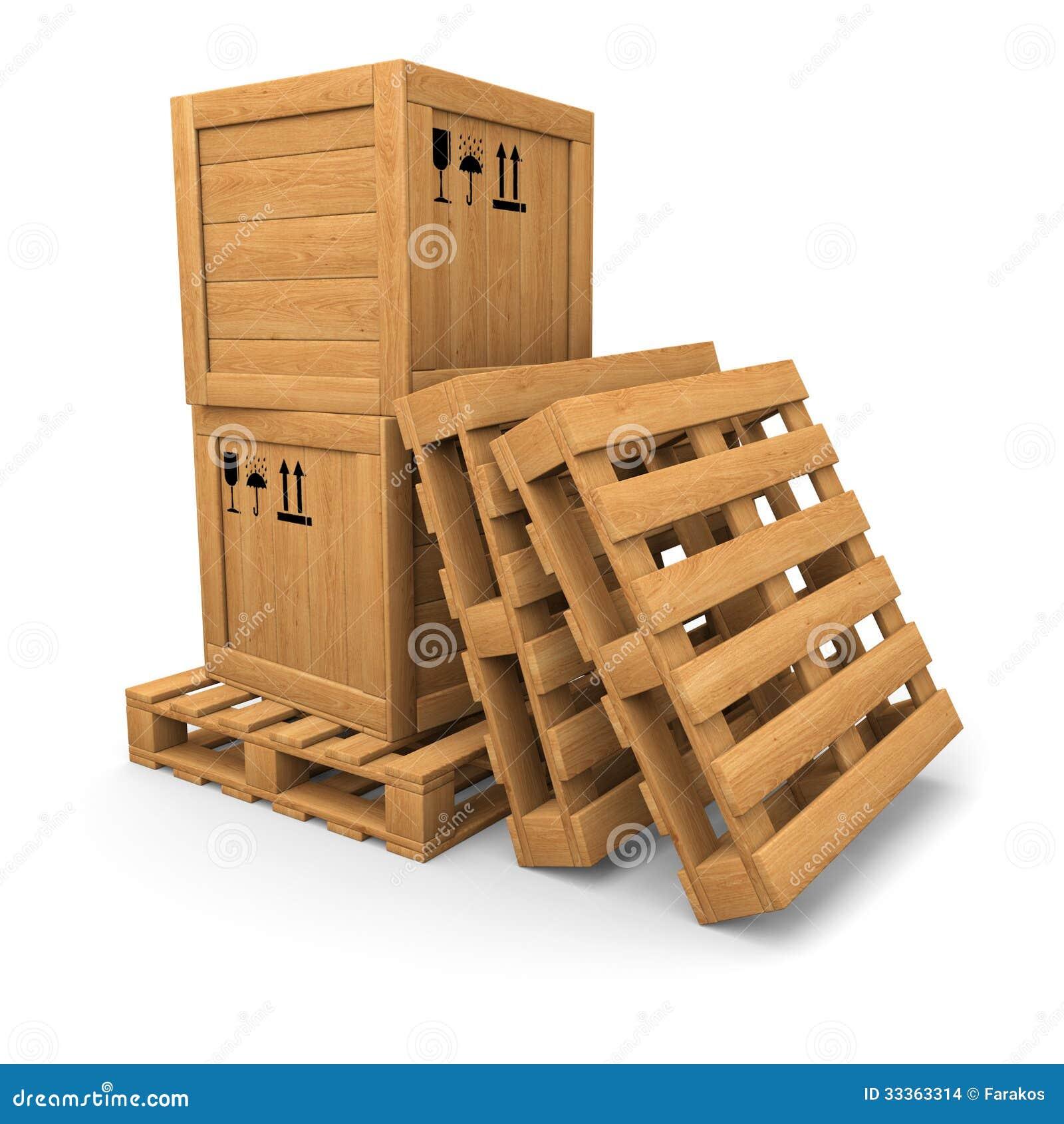 Houten dozen met druk op pallet stapel van pallets stock afbeeldingen afbeelding 33363314 - Foto houten pallet ...