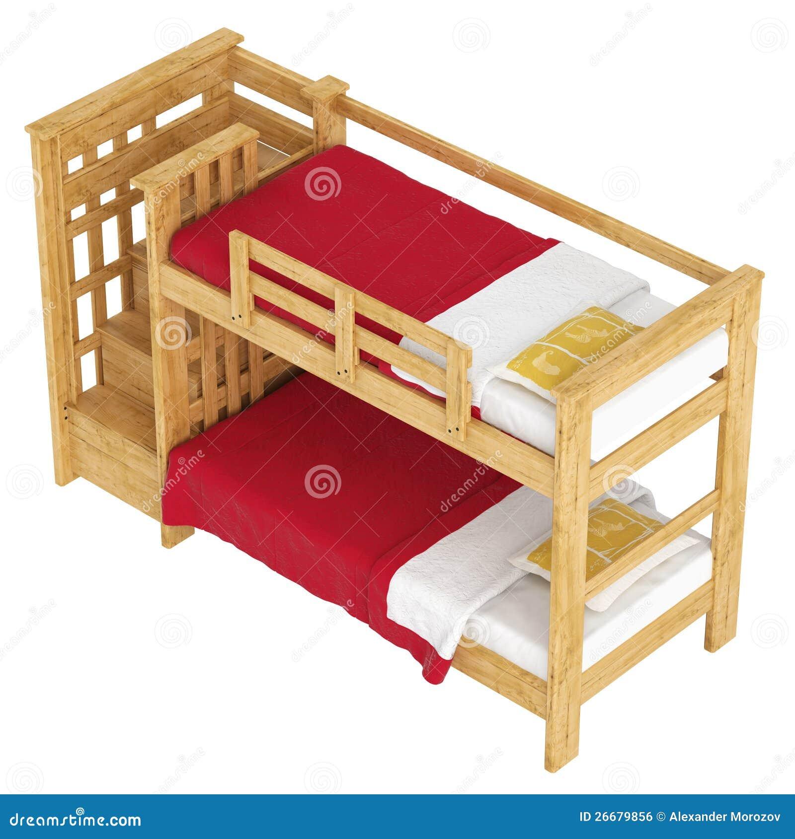 Stapelbed Met Dubbel Bed.Houten Dubbel Stapelbed Stock Illustratie Illustratie Bestaande Uit