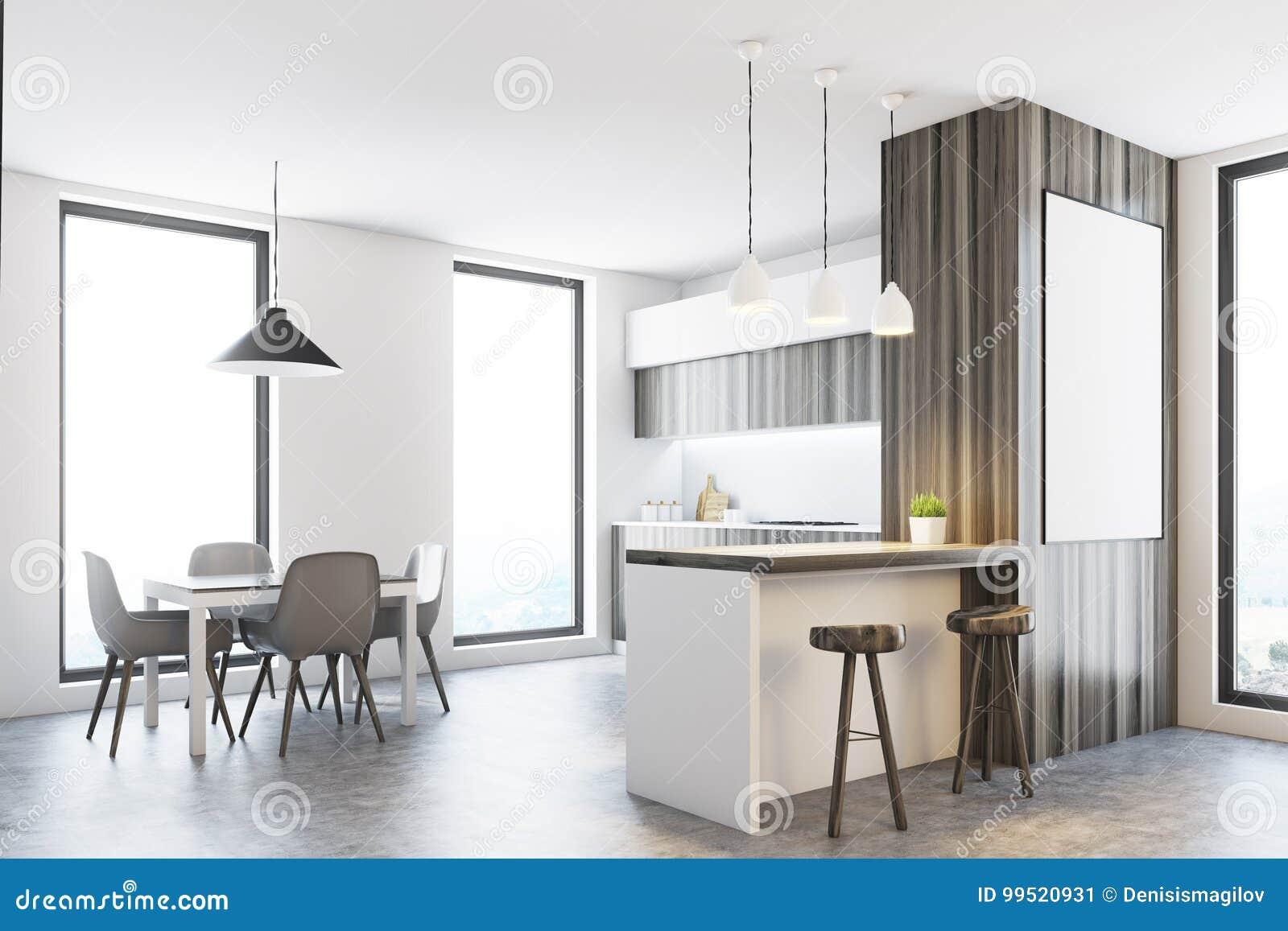 Keuken Houten Bar : Houten en witte keuken met een bar affiche stock illustratie