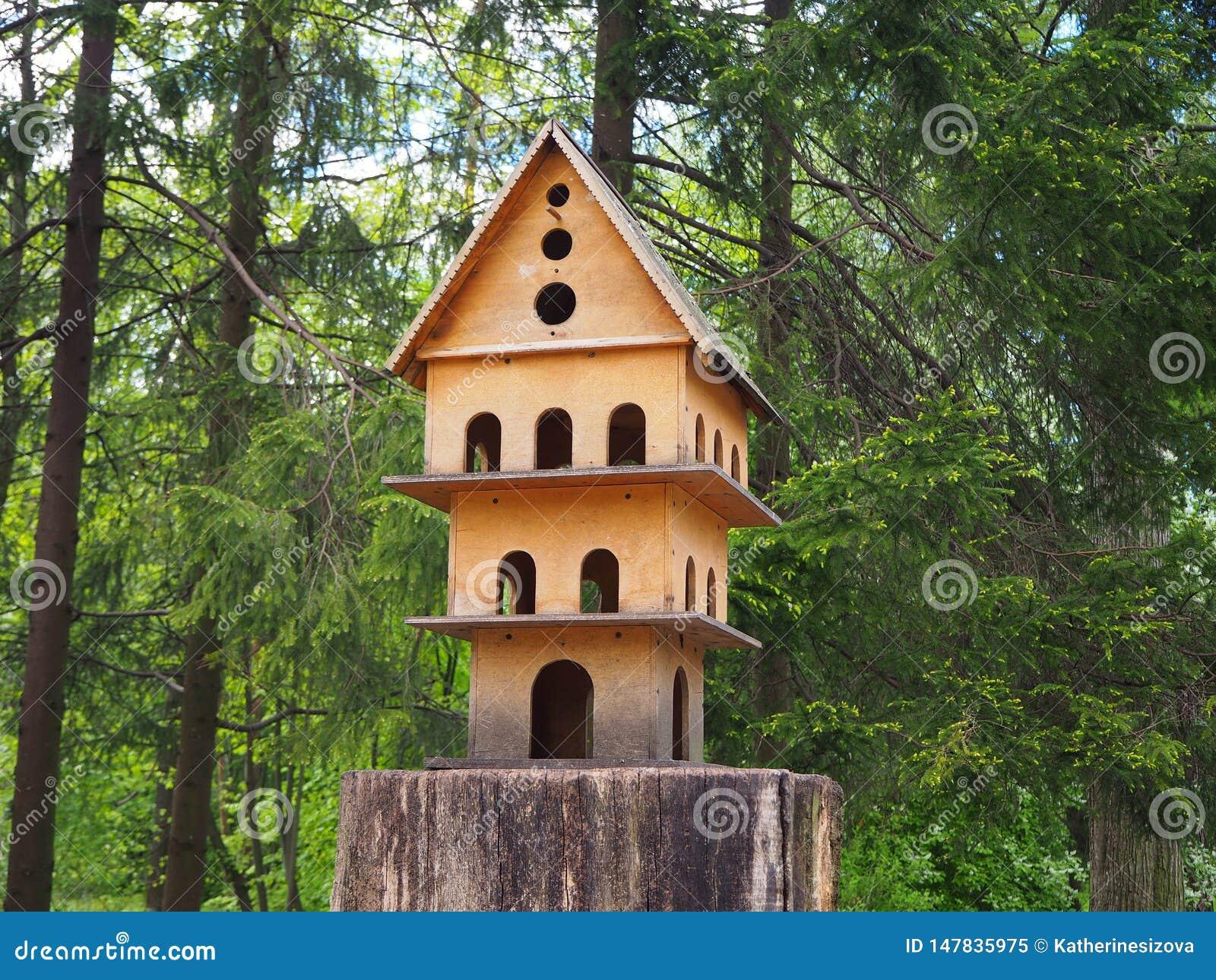 Houten gesneden vogelhuis met meerdere verdiepingen op een boomstomp, een voeder voor vogels in het park
