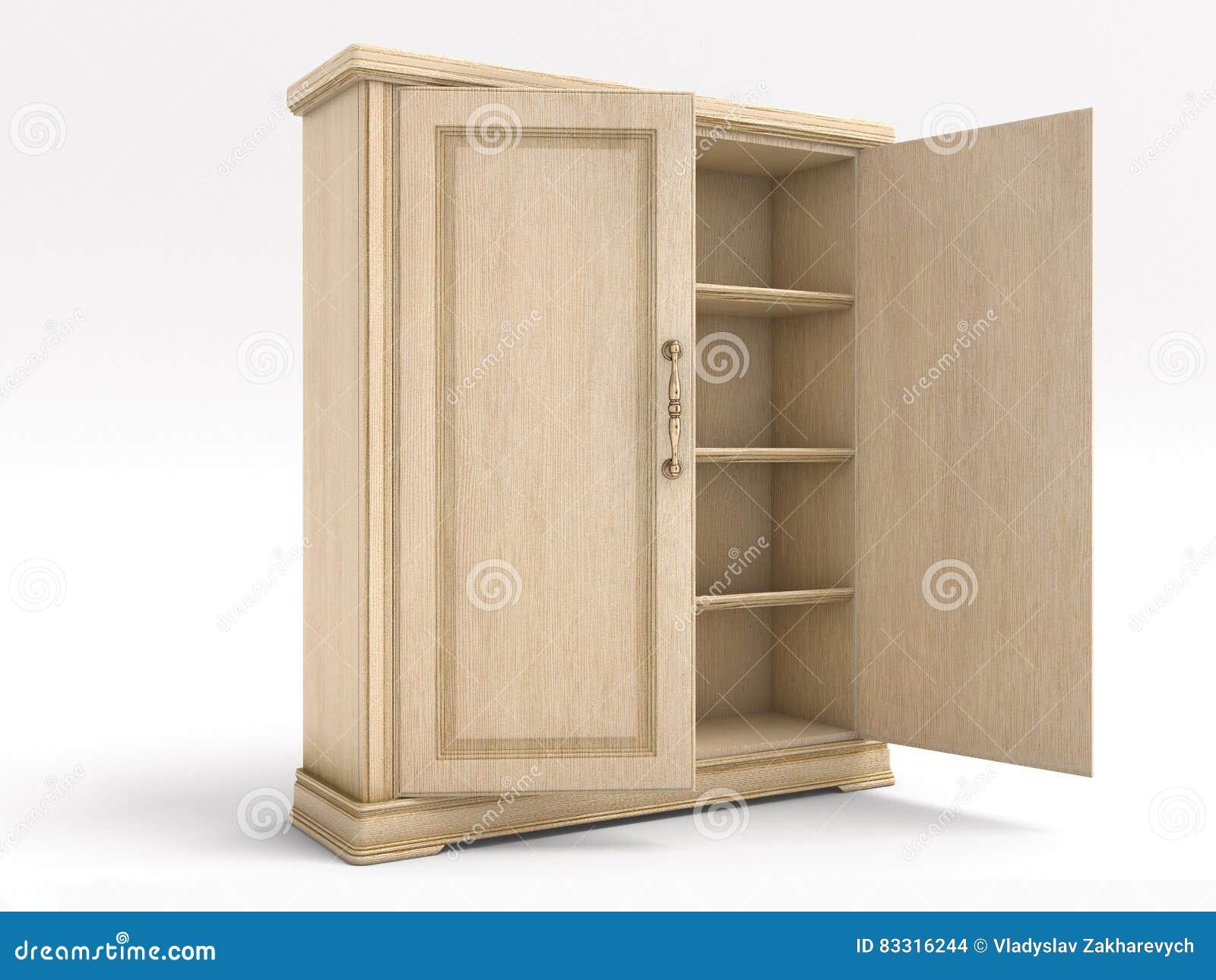 Grote Witte Houten Kast.Houten Grote Witte Open Kast Stock Illustratie Illustratie