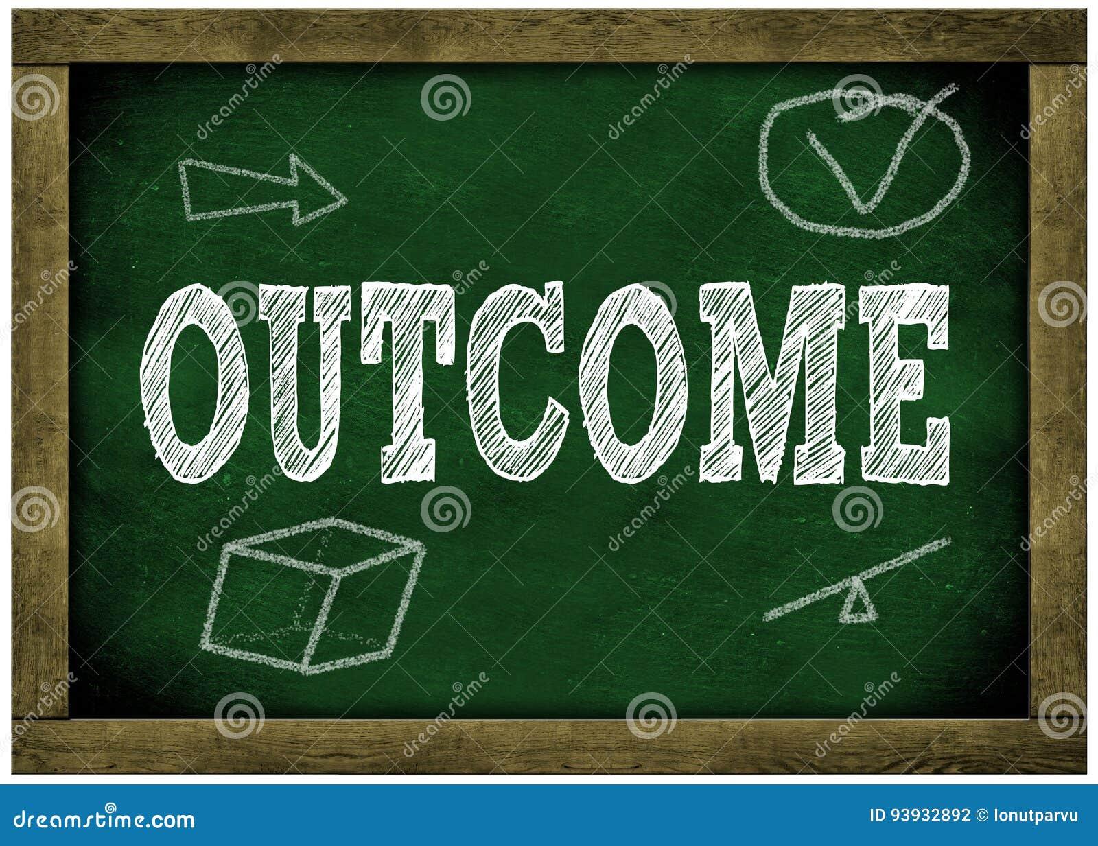 Houten kader groen bord met RESULTATENbericht met de hand geschreven in krijt