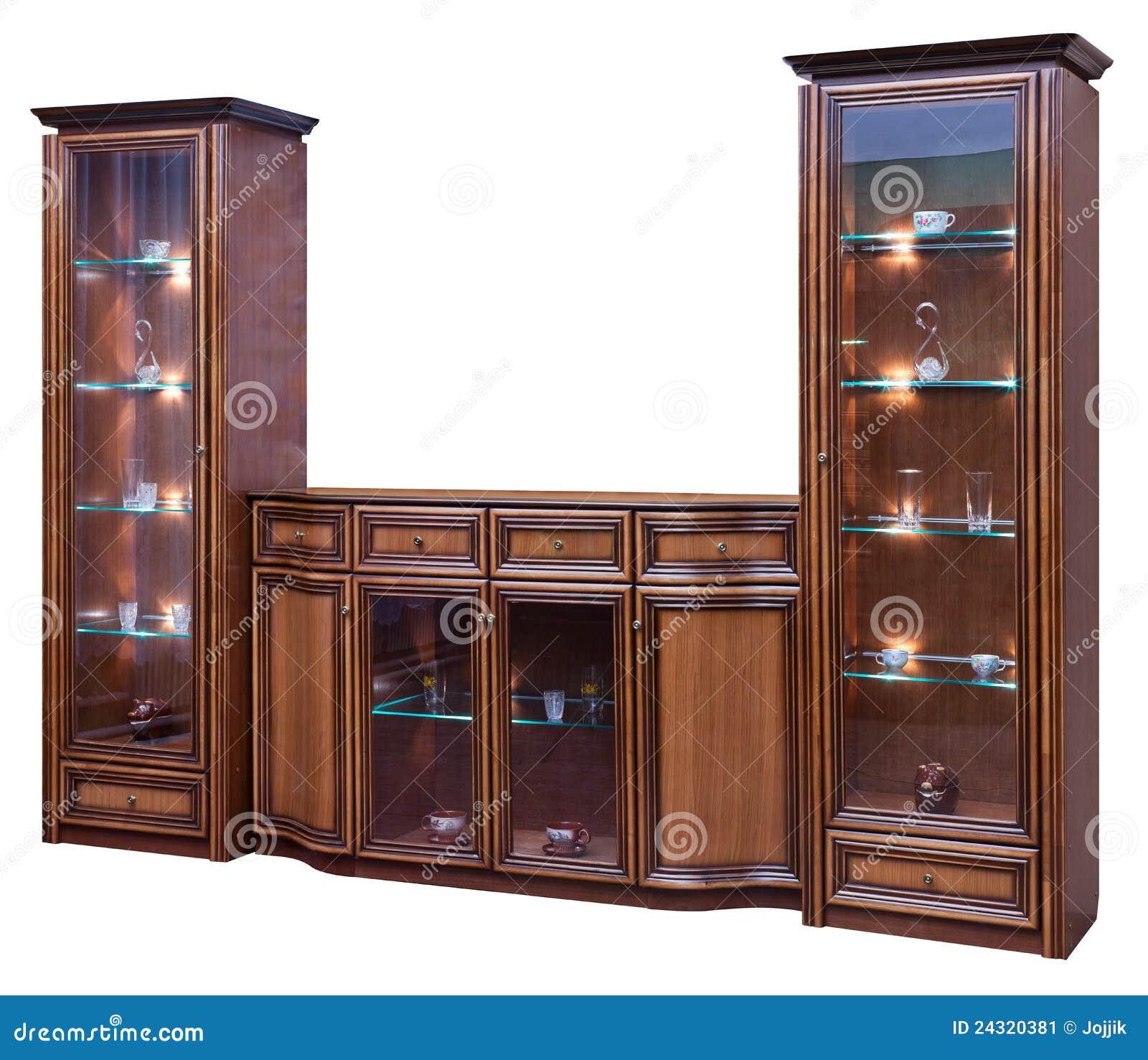 Kast Met Glasdeuren.Houten Kast Met Glasdeuren Stock Afbeelding Afbeelding Bestaande