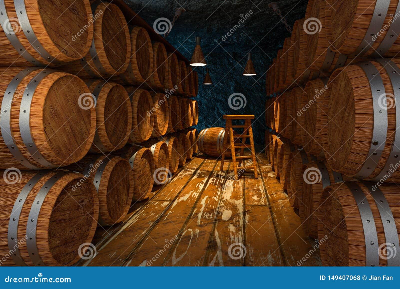 Houten kelder met binnen vaten, uitstekend drankpakhuis, het 3d teruggeven