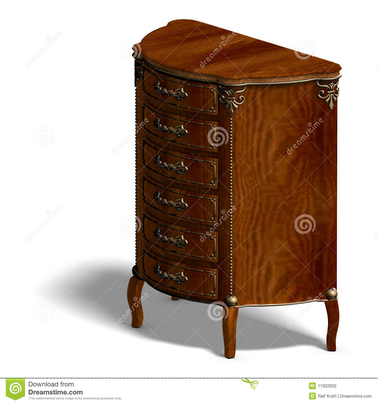 Louis Xv Ladenkast.Houten Ladenkast Met Laden Van Louis Xv Stock Illustratie