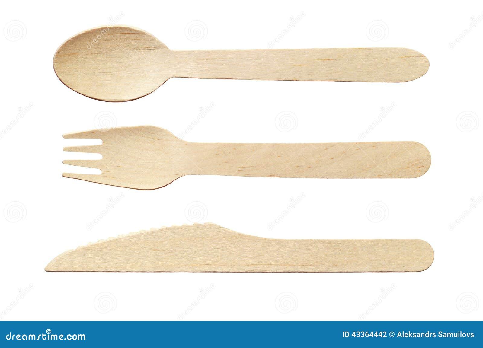 Houten lepel, mes en vork